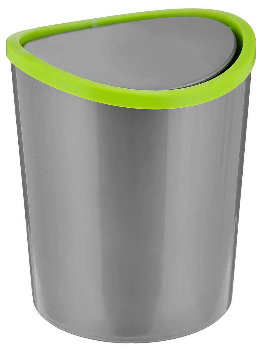 Контейнер для мусора Idea, цвет: серый, салатовый, 1,6 лМ 2490Контейнер для мусора Idea изготовлен из прочного пластика. Такой аксессуар очень удобен в использовании как дома, так и в офисе. Контейнер снабжен удобной поворачивающейся крышкой. Стильный дизайн сделает его прекрасным украшением интерьера.
