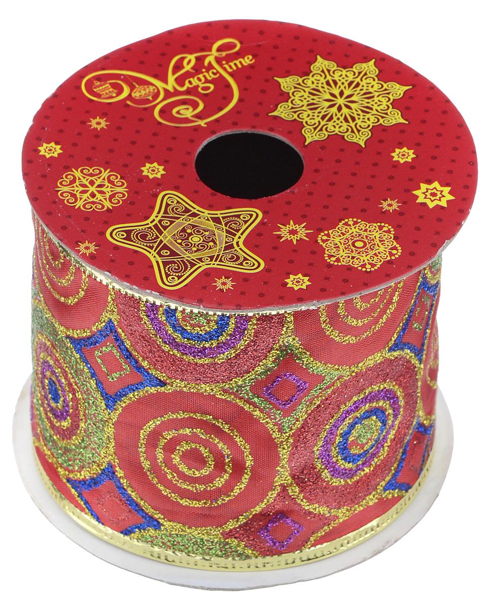 Декоративная лента Феникс-презент Magic Time, цвет: красный, золотистый, длина 2,7 м. 3890538905Декоративная лента Феникс-презент Magic Time выполнена из полиэстера и декорирована оригинальным орнаментом. В края ленты вставлена проволока, благодаря чему ее легко фиксировать. Лента предназначена для оформления подарочных коробок, пакетов. Кроме того, декоративная лента с успехом применяется для художественного оформления витрин, праздничного оформления помещений, изготовления искусственных цветов. Декоративная лента украсит интерьер вашего дома к праздникам. Ширина ленты: 6,3 см.