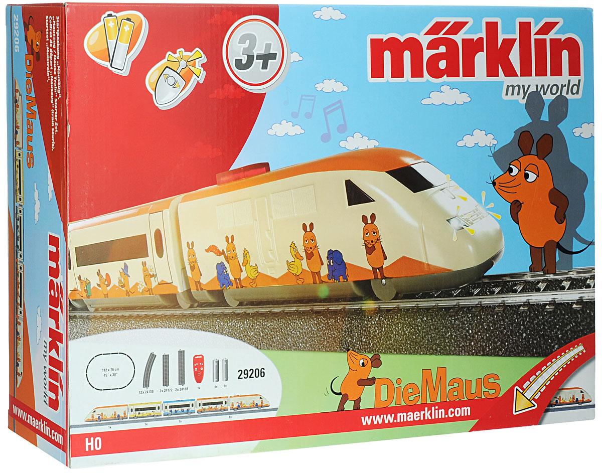 Marklin Железная дорога Marklin Пассажирский поезд Mouse29206Железная дорога Marklin Пассажирский поезд Mouse не оставит равнодушным вашего ребенка. Набор включает в себя 12 закругленных и 4 прямых сегментов железнодорожного полотна, локомотив, 4 пассажирских вагона, пульт управления и наклейки с изображениями забавных животных, которыми можно украсить вагончики. Уникальная трехрельсовая железнодорожная система Marklin заслужила репутацию надежной и безотказной системы. Локомотив имеет металлический каркас и металлические колеса. Грузовые и пассажирские вагоны имеют металлические колеса и низкий центр тяжести, предотвращающий сход с рельсов. Крошечные, почти невидимые глазу точечные контакты размещены в центральном рельсе и передают электрический ток непосредственно локомотиву. Третий рельс снимает ненужную полярность в электропроводке и обеспечивает надежную связь между железнодорожной колеей и локомотивом. Звуковые и световые эффекты делают игру интересной и увлекательной. Локомотив освещает дорогу головными огнями. В...
