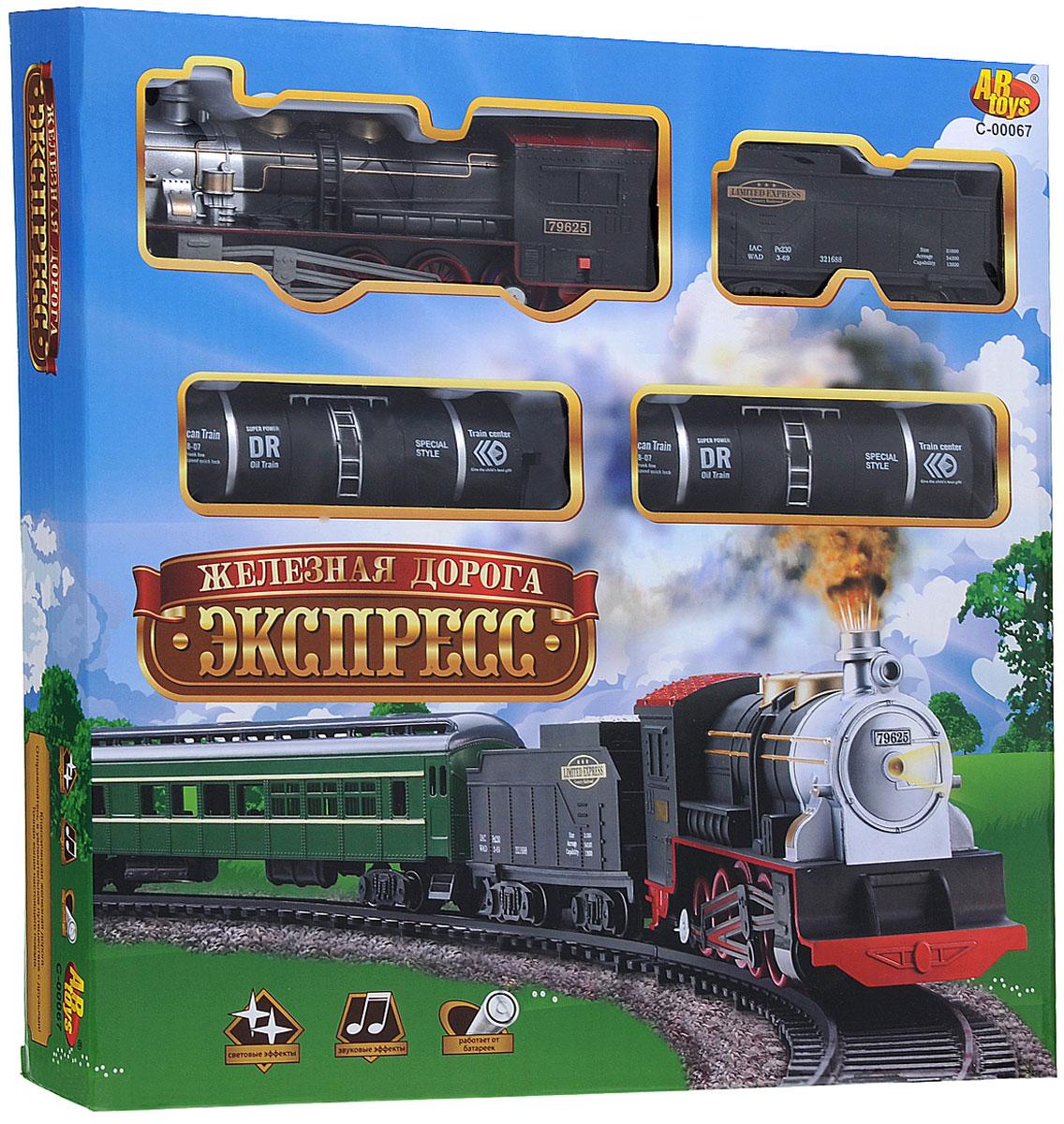 ABtoys Железная дорога Экспресс 16 элементовC-00067 (A36-22)Классическая железная дорога Экспресс приведет в восторг вашего малыша. Набор включает реалистичный паровозик, грузовой вагон, 2 цистерны и 12 элементов для сборки железной дороги. Паровозик активизируется, если передвинуть переключатель в положение On. Во время его перемещения воспроизводятся звуки и подсвечивается прожектор. Железная дорога Экспресс позволит ребенку не только получать удовольствие от игры, но и развивать пространственное воображение, мелкую моторику рук и координацию движений. Порадуйте его таким замечательным подарком! Для работы паровозика необходимо докупить 2 батарейки напряжением 1,5V типа АА (не входят в комплект).