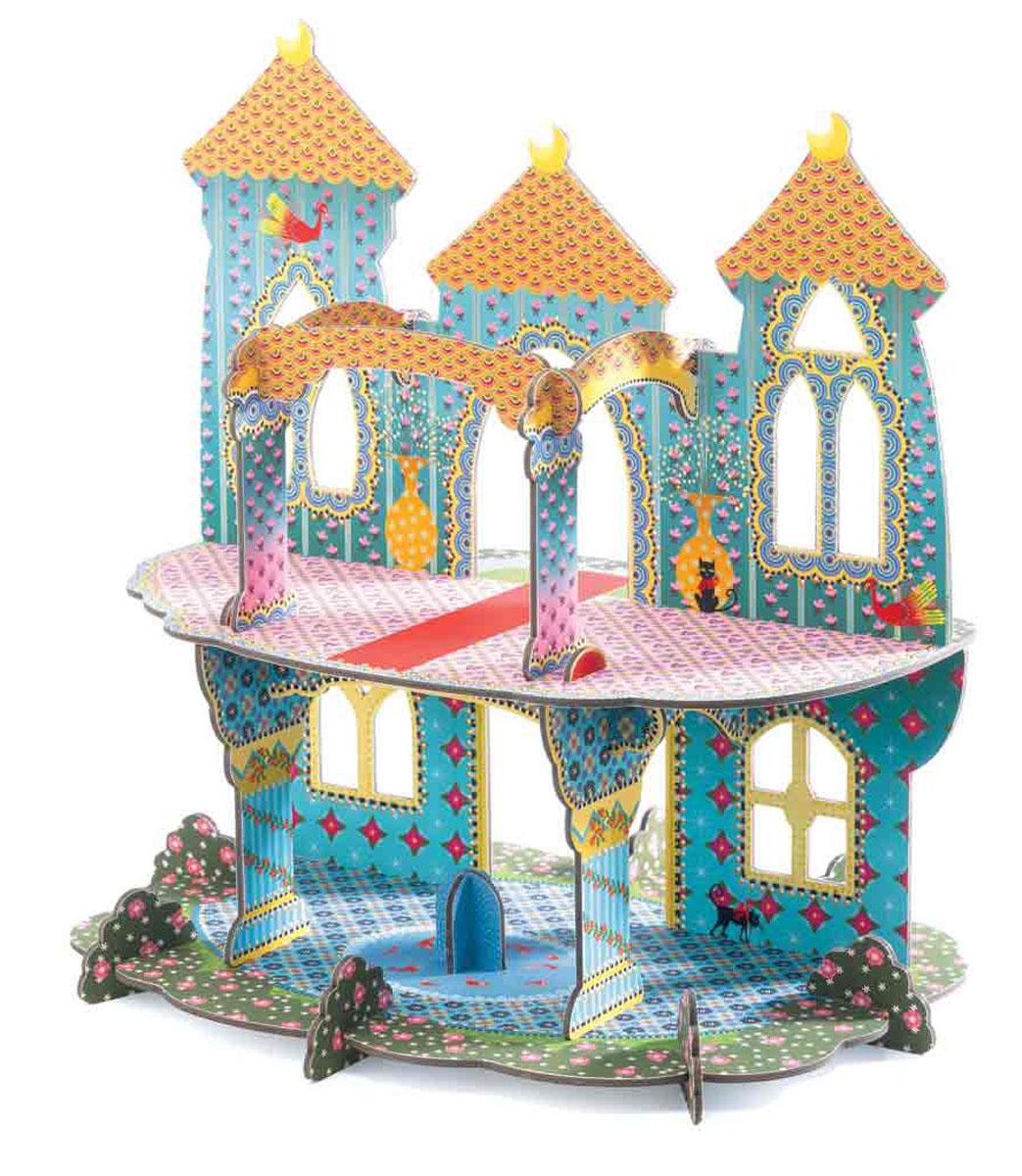 Djeco Pop to Play Конструктор Замок чудес07702Объемный конструктор Djeco Замок чудес порадует вашу малышку. Он включает 20 красочных элементов, выполненных из очень крепкого картона, из которых собирается великолепный объемный замок. Схематичная инструкция позволит это сделать правильно и быстро. Двухэтажный замок станет красивым фоном для игр с куклами, принцессами и прочими любимыми игрушками вашей девочки.