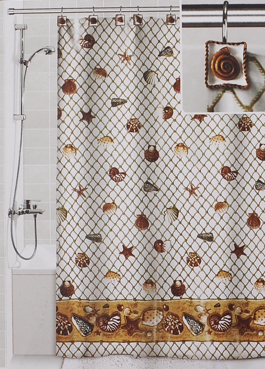 Штора для ванной Valiant Морские ракушки, цвет: белый, коричневый, 180 см х 180 смDLX-SШтора для ванной комнаты Valiant Морские ракушки из 100% плотного полиэстера с водоотталкивающей поверхностью идеально защищает ванную комнату от брызг. В верхней кромке шторы предусмотрены отверстия для декоративных крючков, выполненных в одном стиле (входят в комплект), а в нижней кромке шторы скрыт гибкий шнур, который поддерживает ее в естественной расправленной форме. Штору можно легко почистить мягкой губкой с мылом или постирать ее с мягким моющим средством в деликатном режиме. Количество крючков: 12 шт.