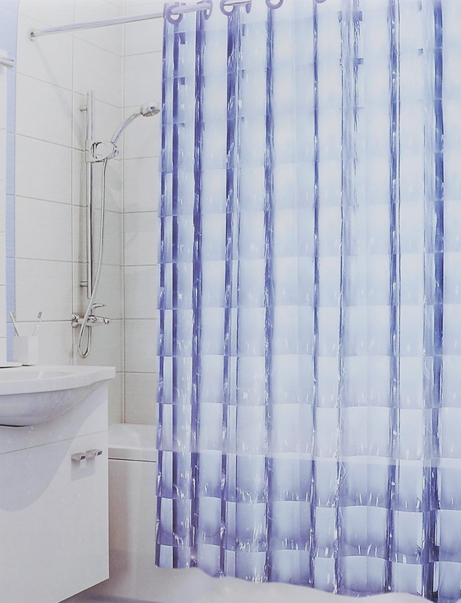 Штора для ванной 3D Valiant Зеркало, цвет: голубой, 180 х 180 см3D-BШтора для ванной комнаты Valiant Зеркало из 100% ЭВА с завораживающим кристаллическим эффектом идеально защищает ванную комнату от брызг. Изделие легко крепится благодаря специальным раздвижным люверсам. Штору можно легко почистить мягкой губкой с мылом.