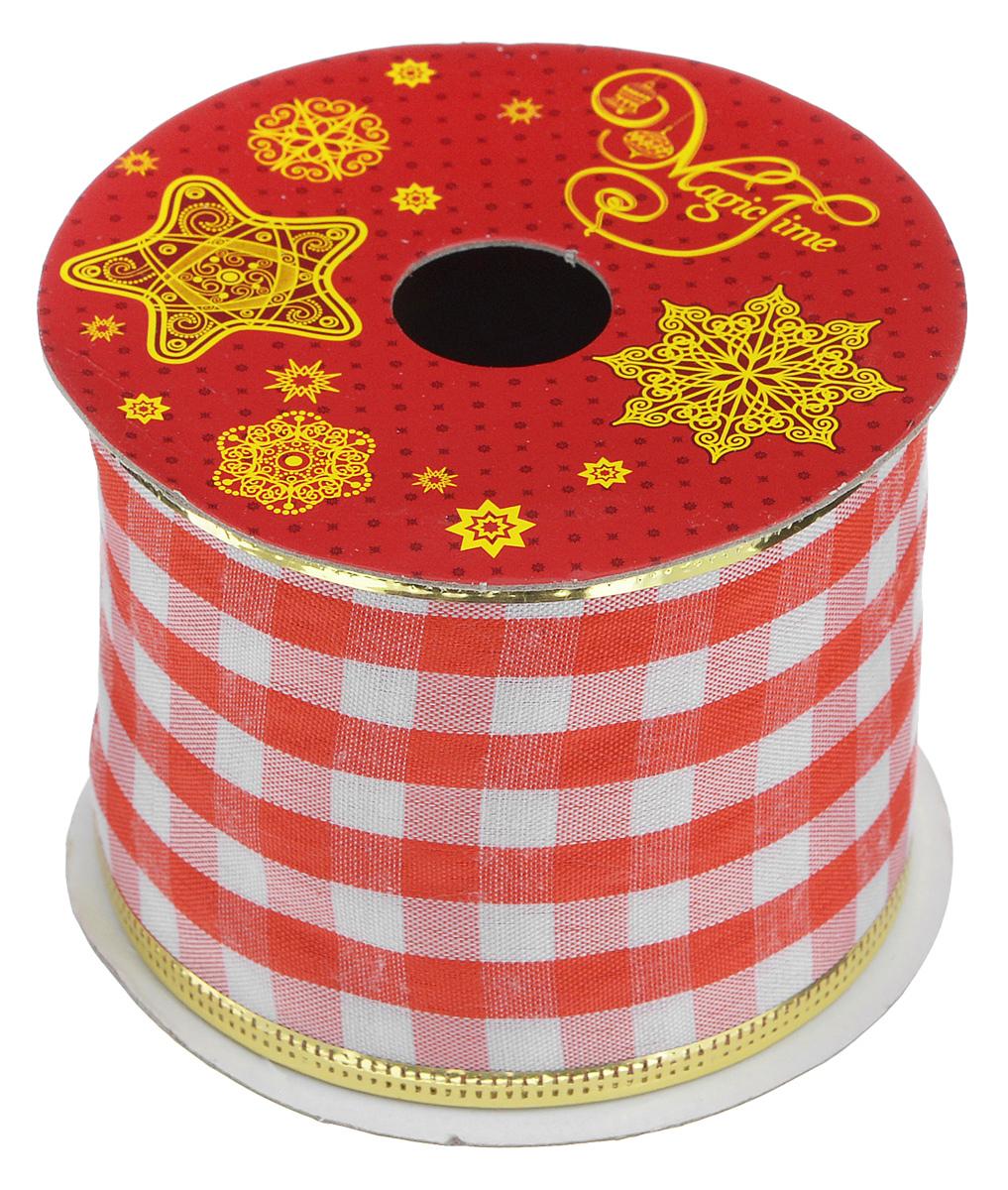 Декоративная лента Феникс-презент Magic Time, цвет: белый, красный, длина 2,7 м. 3889738897Декоративная лента Феникс-презент Magic Time выполнена из высококачественного полиэстера. В края ленты вставлена проволока, благодаря чему ее легко фиксировать. Лента предназначена для оформления подарочных коробок, пакетов. Кроме того, декоративная лента с успехом применяется для художественного оформления витрин, праздничного оформления помещений, изготовления искусственных цветов. Декоративная лента украсит интерьер вашего дома к праздникам. Ширина ленты: 6,3 см.