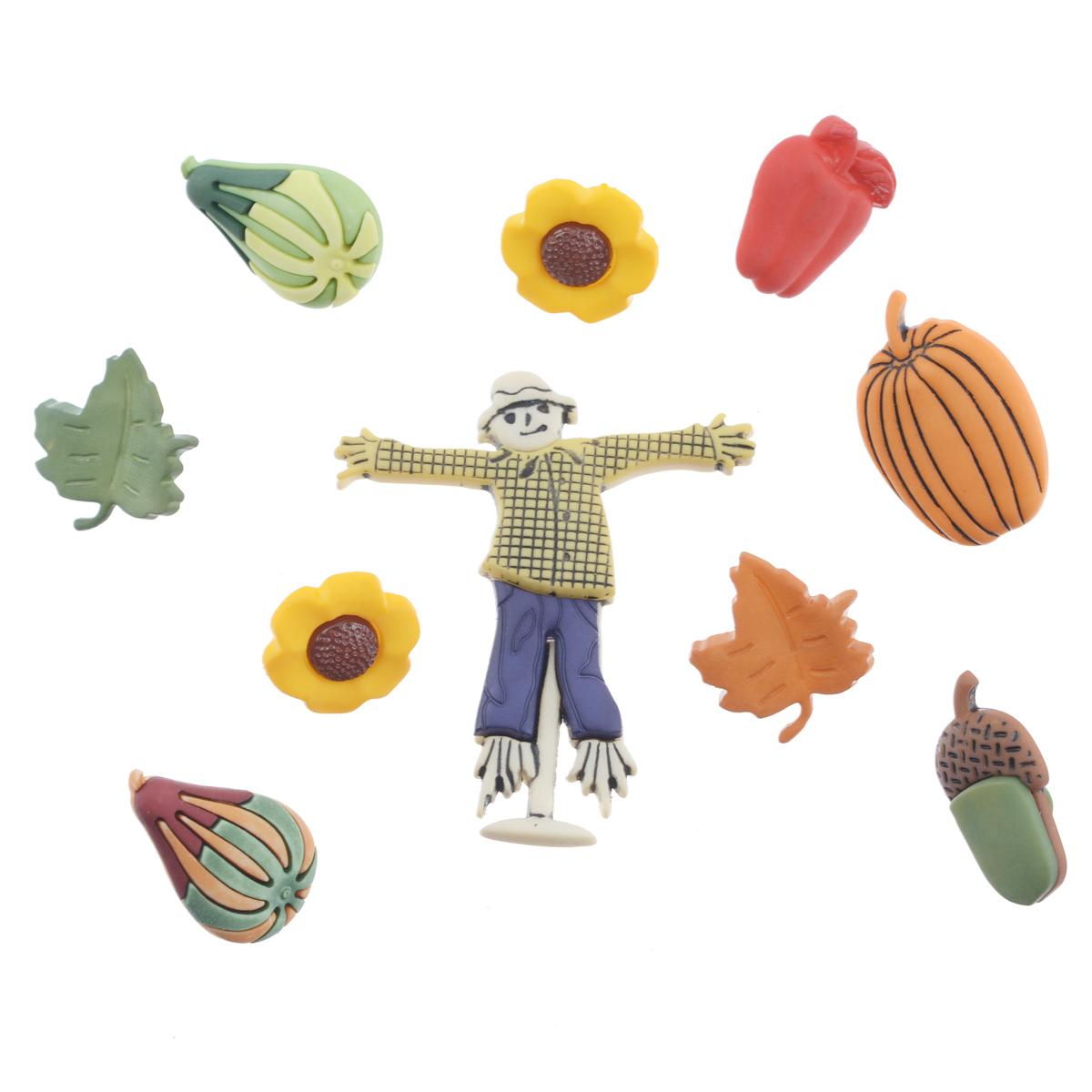 Пуговицы декоративные Buttons Galore & More Signs Of Autumn, 10 шт7705936Набор Buttons Galore & More Signs Of Autumn состоит из 10 декоративных пуговиц. Все элементы выполнены из пластика в виде листьев, цветов, урожая и чучела. Такие пуговицы подходят для любых видов творчества: скрапбукинга, декорирования, шитья, изготовления кукол, а также для оформления одежды. С их помощью вы сможете украсить открытку, фотографию, альбом, подарок и другие предметы ручной работы. Пуговицы разных цветов имеют оригинальный и яркий дизайн. Размер самой большой пуговицы: 4,5 см х 4 см х 0,5 см. Размер самой маленькой пуговицы: 1,5 см х 1,5 см х 0,5 см.