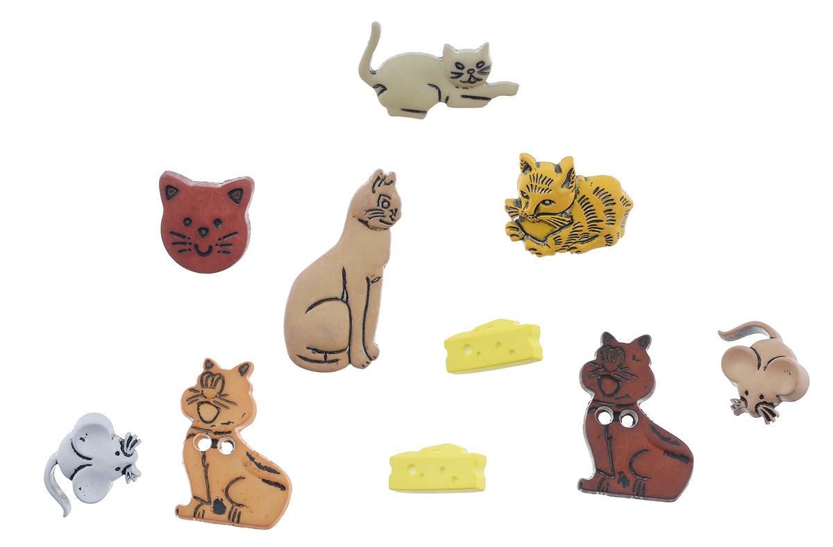 Пуговицы декоративные Buttons Galore & More Cat And Mouse, 10 шт7705899Набор Buttons Galore & More Cat And Mouse состоит из 10 декоративных пуговиц. Все элементы выполнены из пластика в виде кошек и мышек. Такие пуговицы подходят для любых видов творчества: скрапбукинга, декорирования, шитья, изготовления кукол, а также для оформления одежды. С их помощью вы сможете украсить открытку, фотографию, альбом, подарок и другие предметы ручной работы. Пуговицы разных цветов имеют оригинальный и яркий дизайн. Средний размер пуговиц: 2 см х 3 см х 0,5 см.
