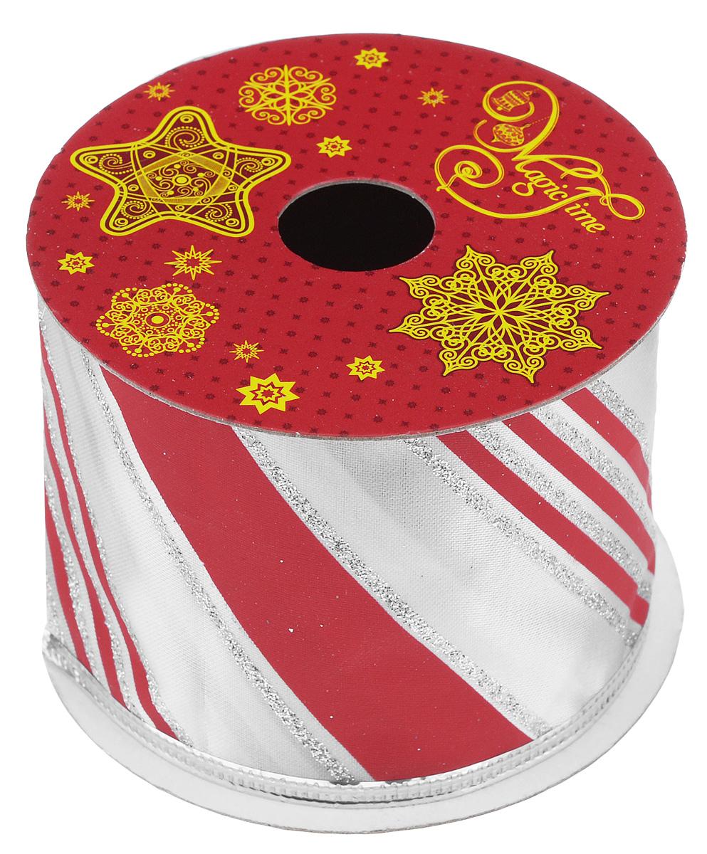 Декоративная лента Феникс-презент Magic Time, цвет: красный, белый, длина 2,7 м. 3890038900Декоративная лента Феникс-презент Magic Time выполнена из полиэстера и декорирована принтом в полоску. В края ленты вставлена проволока, благодаря чему ее легко фиксировать. Лента предназначена для оформления подарочных коробок, пакетов. Кроме того, декоративная лента с успехом применяется для художественного оформления витрин, праздничного оформления помещений, изготовления искусственных цветов. Декоративная лента украсит интерьер вашего дома к праздникам. Ширина ленты: 6,3 см.