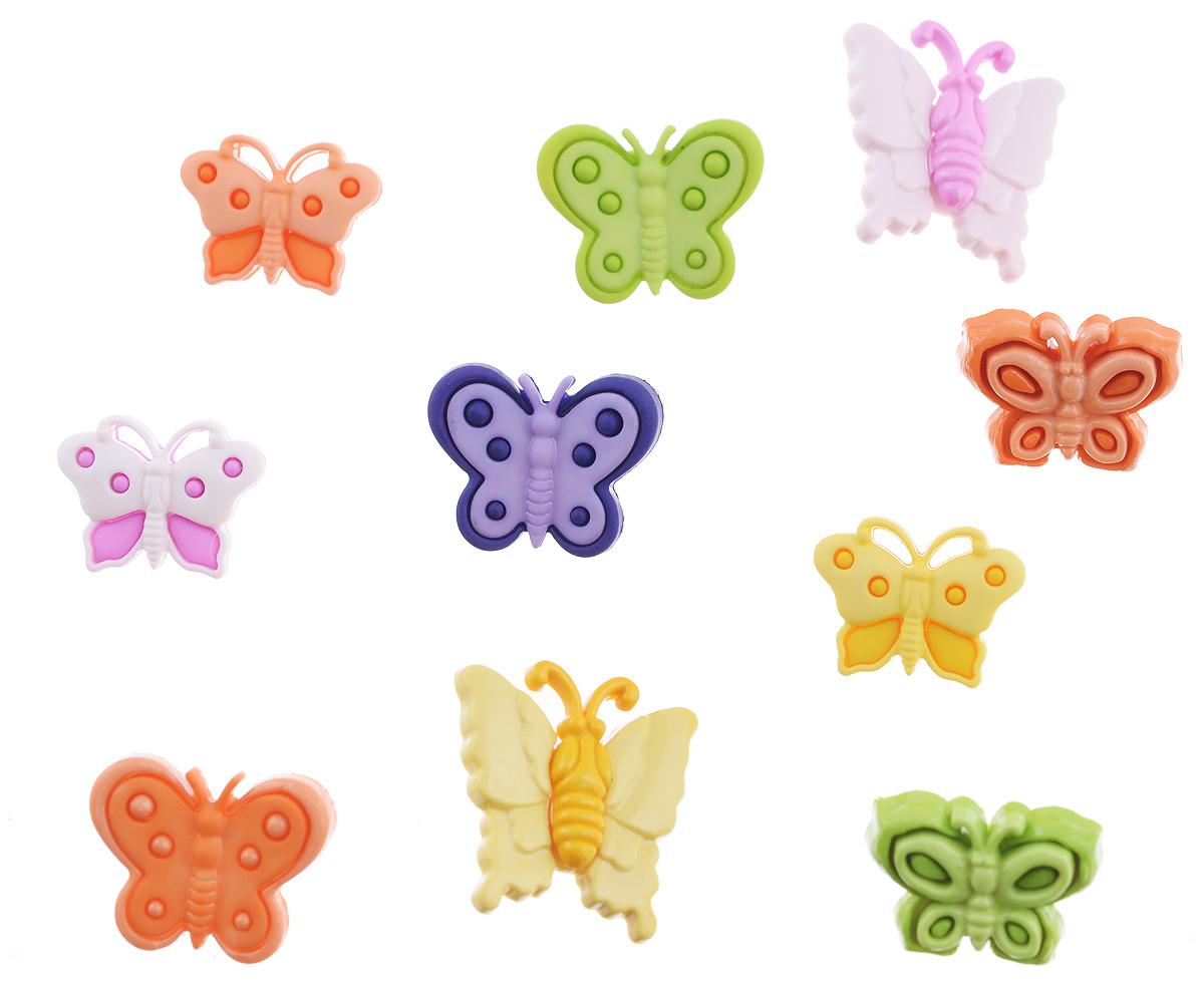 Пуговицы декоративные Buttons Galore & More Butterfly Kisses, 10 шт7705940Набор Buttons Galore & More Butterfly Kisses состоит из 10 декоративных пуговиц. Все элементы выполнены из пластика в виде бабочек. Такие пуговицы подходят для любых видов творчества: скрапбукинга, декорирования, шитья, изготовления кукол, а также для оформления одежды. С их помощью вы сможете украсить открытку, фотографию, альбом, подарок и другие предметы ручной работы. Пуговицы разных цветов имеют оригинальный и яркий дизайн. Средний размер пуговиц: 1,5 см х 2 см х 0,5 см.
