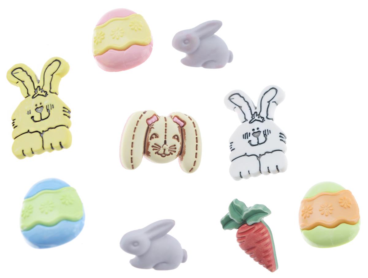 Пуговицы декоративные Buttons Galore & More Funny Bunny, 9 шт7708843Набор Buttons Galore & More Funny Bunny состоит из 9 декоративных пуговиц. Все элементы выполнены из пластика в виде пасхальных яиц и кроликов. Такие пуговицы подходят для любых видов творчества: скрапбукинга, декорирования, шитья, изготовления кукол, а также для оформления одежды. С их помощью вы сможете украсить открытку, фотографию, альбом, подарок и другие предметы ручной работы. Пуговицы разных цветов имеют оригинальный и яркий дизайн. Средний размер пуговиц: 2 см х 1,5 см х 0,5 см.