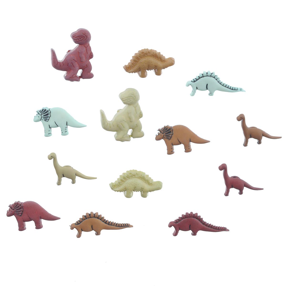 Пуговицы декоративные Buttons Galore & More Dinosaurs, 12 шт7708767Набор Buttons Galore & More Dinosaurs состоит из 12 декоративных пуговиц. Все элементы выполнены из пластика в виде динозавров. Такие пуговицы подходят для любых видов творчества: скрапбукинга, декорирования, шитья, изготовления кукол, а также для оформления одежды. С их помощью вы сможете украсить открытку, фотографию, альбом, подарок и другие предметы ручной работы. Пуговицы разных цветов имеют оригинальный и яркий дизайн. Средний размер пуговиц: 1,5 см х 2,5 см х 0,5 см.