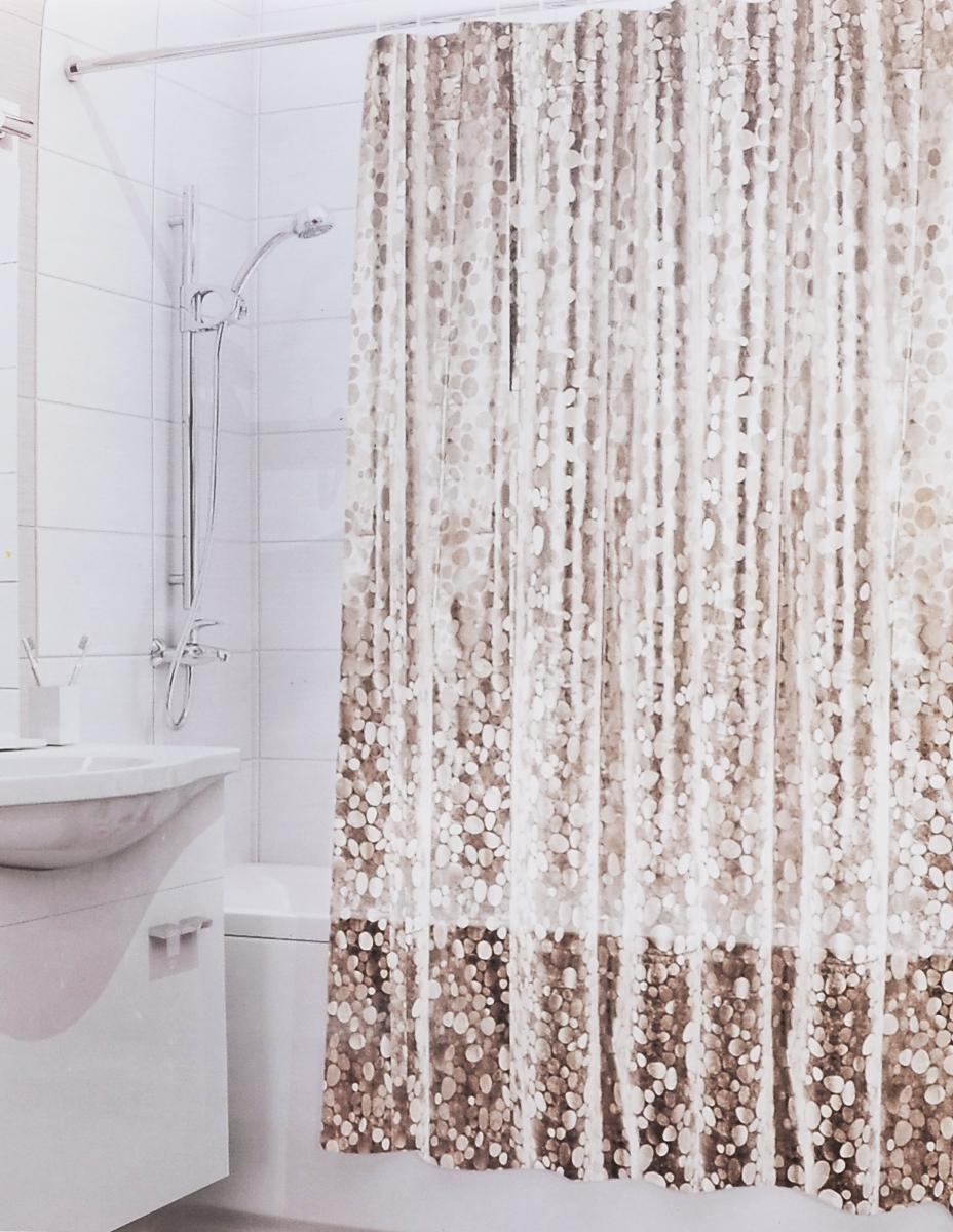 Штора для ванной 3D Valiant Камни, цвет: коричневый, бежевый, 180 см х 180 см3D-BRШтора для ванной комнаты Valiant Камни из 100% PEVA с завораживающим кристаллическим эффектом идеально защищает ванную комнату от брызг. В верхней кромке шторы предусмотрены отверстия для пластиковых колец (входят в комплект). Штору можно легко почистить мягкой губкой с мылом. Количество колец: 12 шт.