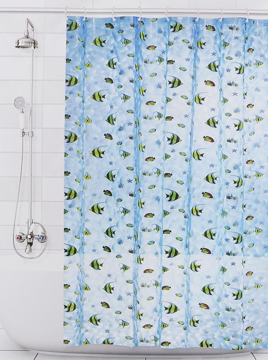 Штора для ванной 3D Valiant Аквариум, цвет: голубой, желтый, черный, 180 х 180 см3DP-AШтора для ванной комнаты Valiant Аквариум из 100% ЭВА с завораживающим кристаллическим эффектом идеально защищает ванную комнату от брызг. В верхней кромке шторы предусмотрены отверстия для пластиковых колец (входят в комплект). Штору можно легко почистить мягкой губкой с мылом. Количество колец: 12 шт.