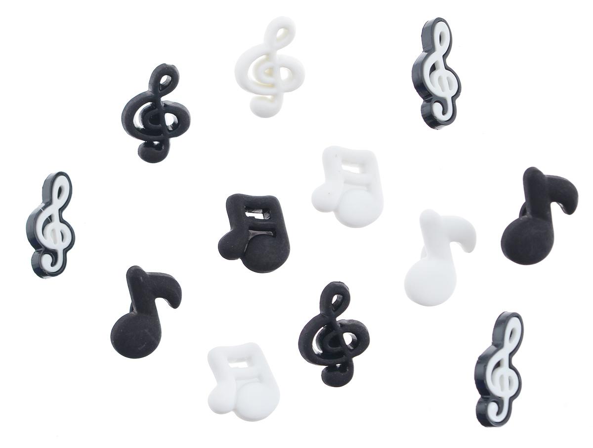 Пуговицы декоративные Buttons Galore & More Music Notes, 12 шт7705875Набор Buttons Galore & More Music Notes состоит из 12 декоративных пуговиц. Все элементы выполнены из пластика в виде нот. Такие пуговицы подходят для любых видов творчества: скрапбукинга, декорирования, шитья, изготовления кукол, а также для оформления одежды. С их помощью вы сможете украсить открытку, фотографию, альбом, подарок и другие предметы ручной работы. Пуговицы разных цветов имеют оригинальный и яркий дизайн. Средний размер пуговиц: 2 см х 1 см х 0,5 см.