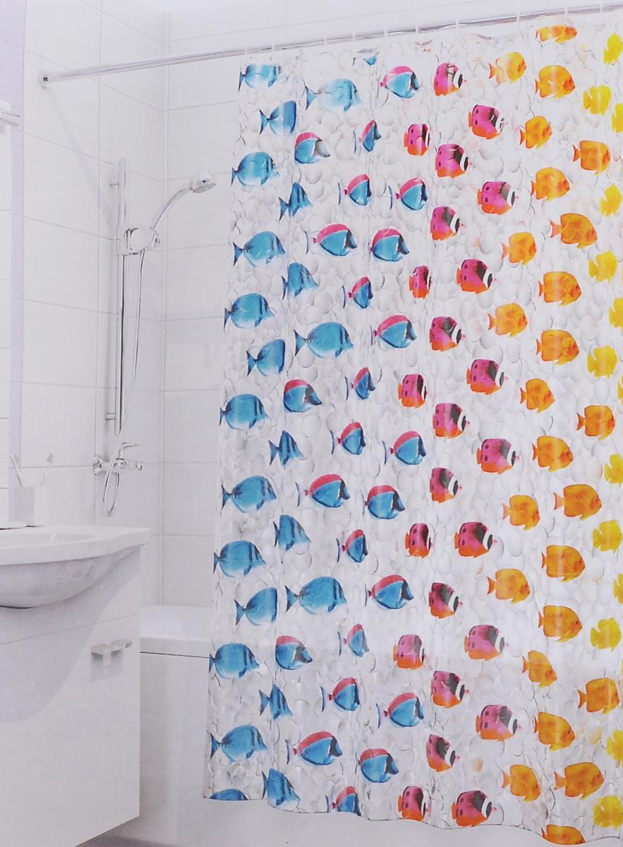 Штора для ванной 3D Valiant Цветные рыбки, цвет: голубой, желтый, красный, 180 х 180 см3DP-FШтора для ванной комнаты Valiant Цветные рыбки из 100% PEVA с завораживающим кристаллическим эффектом идеально защищает ванную комнату от брызг. В верхней кромке шторы предусмотрены отверстия для пластиковых колец (входят в комплект). Штору можно легко почистить мягкой губкой с мылом. Количество колец: 12 шт.