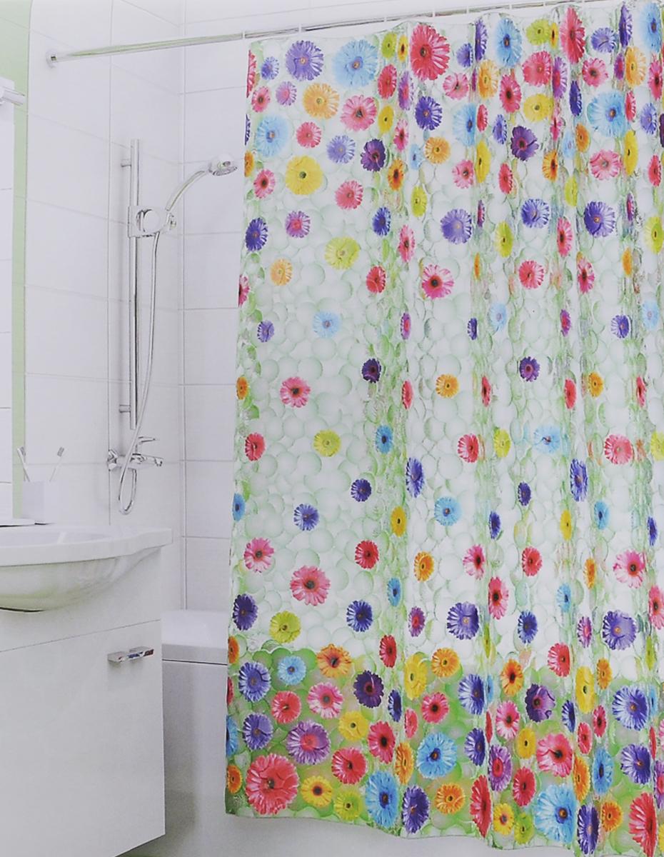 Штора для ванной 3D Valiant Герберы, цвет: зеленый, розовый, желтый, 180 см х 180 см3DP-GШтора для ванной комнаты Valiant Герберы из 100% PEVA с завораживающим кристаллическим эффектом идеально защищает ванную комнату от брызг. В верхней кромке шторы предусмотрены отверстия для пластиковых колец (входят в комплект). Штору можно легко почистить мягкой губкой с мылом. Количество колец: 12 шт.