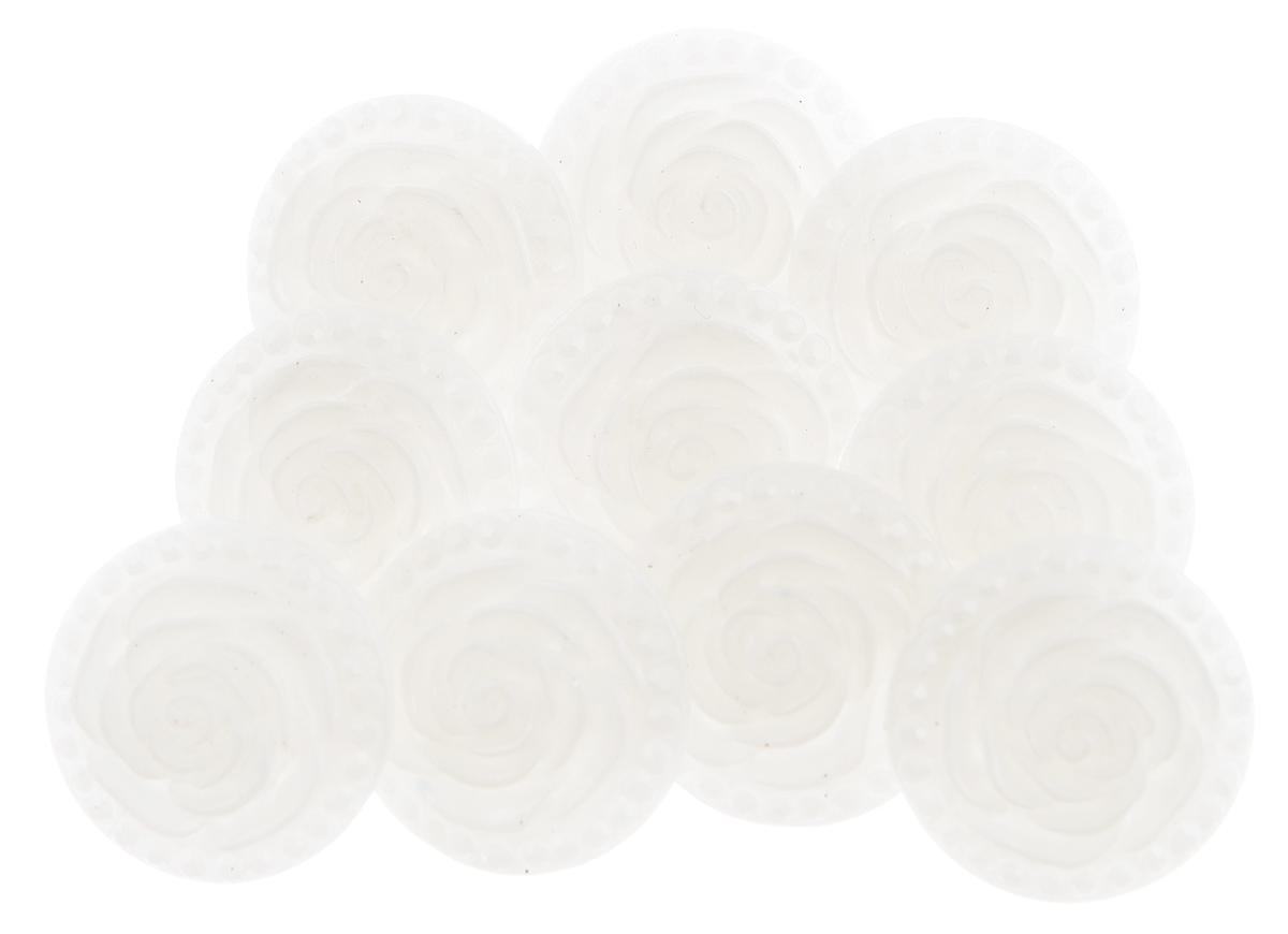 Пуговицы декоративные Астра Розочки, цвет: молочный (3), диаметр 18 мм, 10 шт7708633_3Набор Астра Розочки, изготовленный из пластика, состоит из 10 круглых декоративных пуговиц в виде роз. С помощью них вы сможете украсить одежду, подарок, открытку, фотографию, альбом и другие предметы ручной работы. Такие пуговицы станут незаменимым элементом в создании рукотворного шедевра. Диаметр пуговицы: 18 мм.