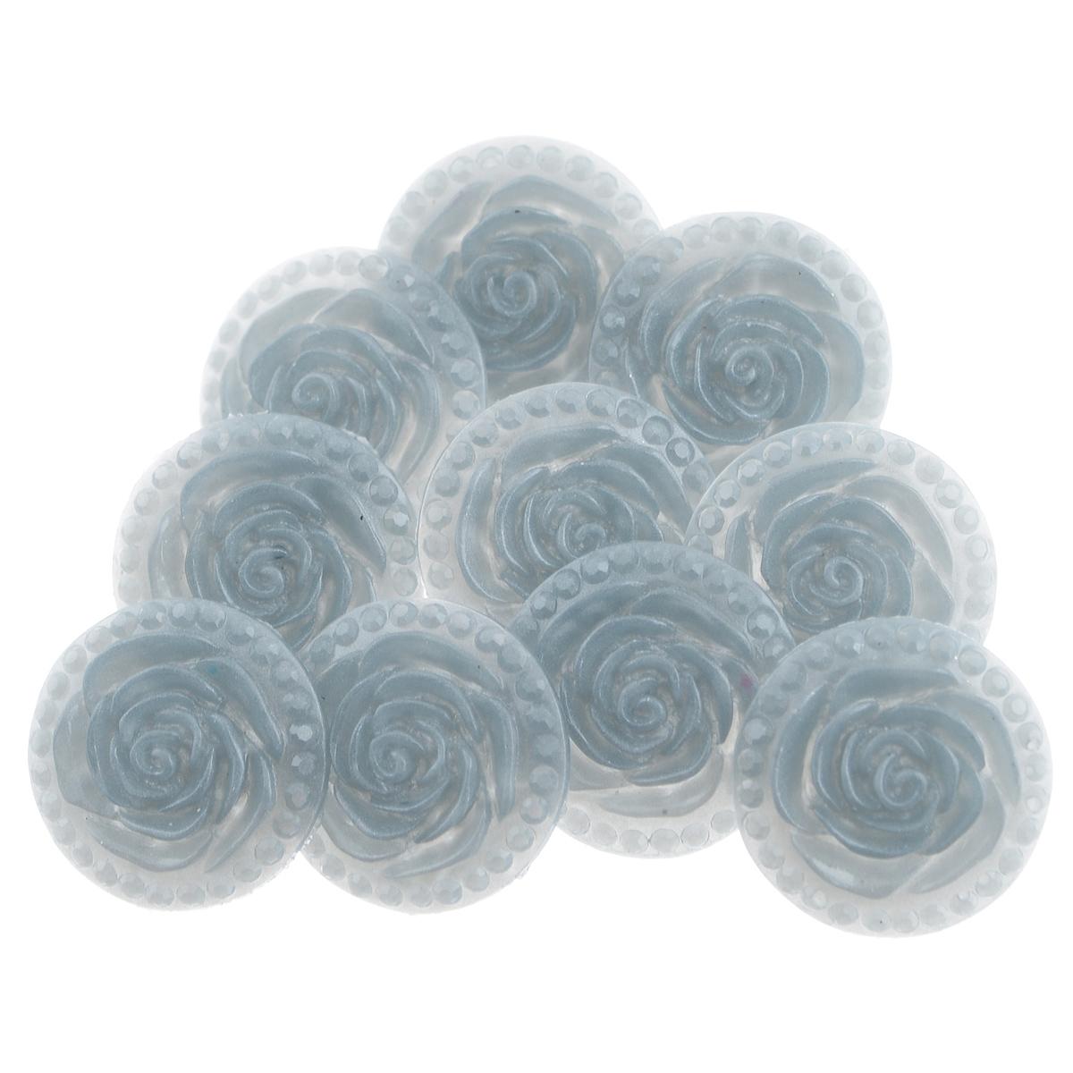 Пуговицы декоративные Астра Розочки, цвет: серый (24), диаметр 18 мм, 10 шт7708633_24Набор Астра Розочки, изготовленный из пластика, состоит из 10 круглых декоративных пуговиц в виде роз. С помощью них вы сможете украсить одежду, подарок, открытку, фотографию, альбом и другие предметы ручной работы. Такие пуговицы станут незаменимым элементом в создании рукотворного шедевра. Диаметр пуговицы: 18 мм.