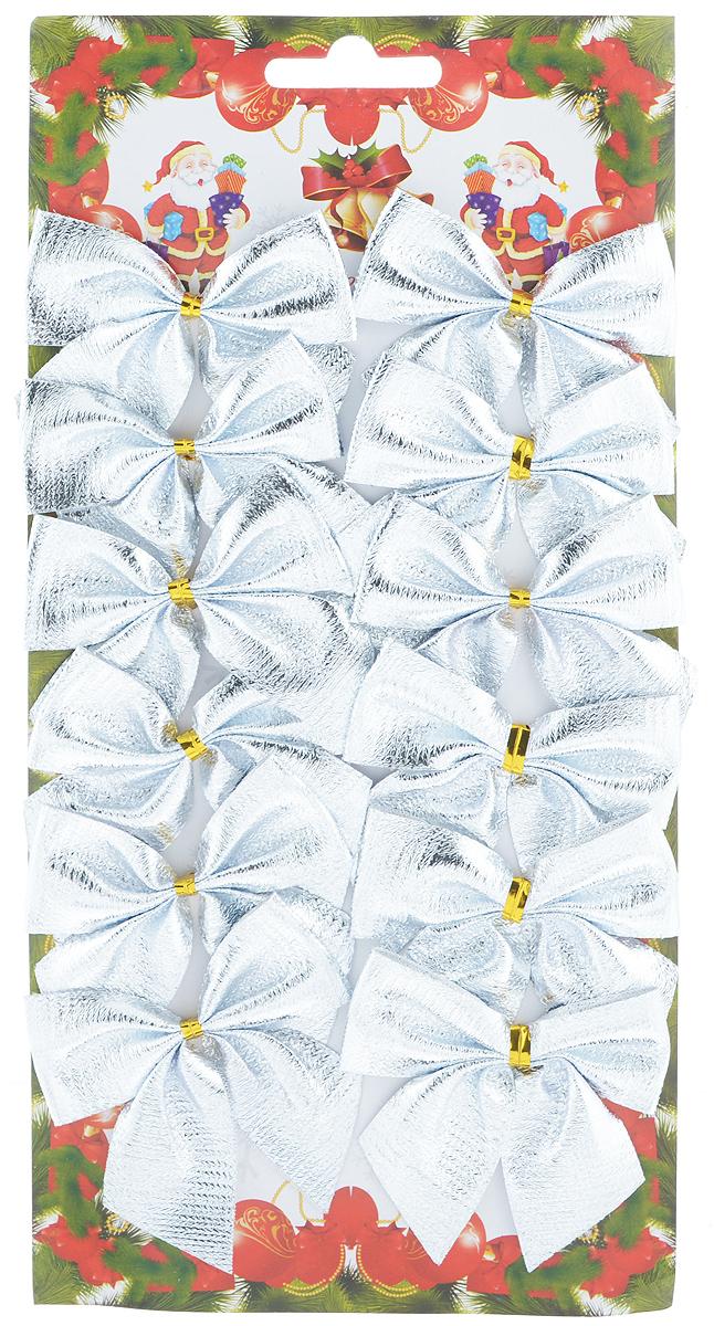 Набор новогодних украшений Феникс-Презент Бант, цвет: серебристый, 12 шт. 3919939199Набор новогодних украшений Феникс-Презент Бант прекрасно подойдет для праздничного декора новогодней ели. Набор состоит из 12 бантов, изготовленных из полиэстера. Для удобного размещения на елке с оборотной стороны банты оснащены двумя проволоками. Коллекция декоративных украшений принесет в ваш дом ни с чем не сравнимое ощущение волшебства! Откройте для себя удивительный мир сказок и грез. Почувствуйте волшебные минуты ожидания праздника, создайте новогоднее настроение вашим дорогим и близким. Размер украшения: 6 см х 7 см.