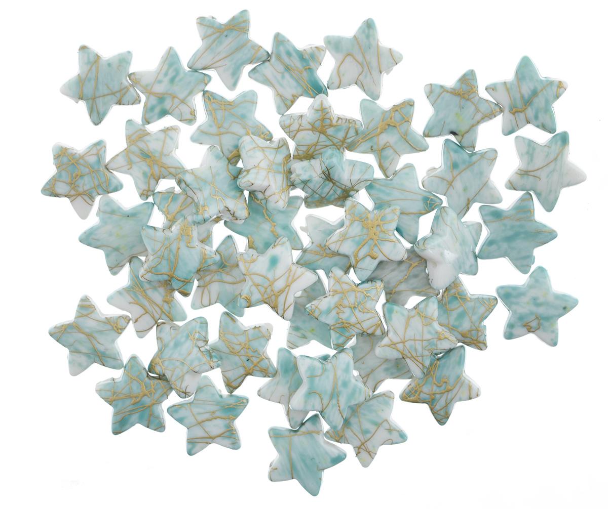 Бусины Астра Цветные камешки, цвет: мятный (6-34), 15 мм х 15 мм х 4 мм, 48 шт7710780_6-34Набор бусин Астра Цветные камешки, изготовленный из пластика, позволит вам своими руками создать оригинальные ожерелья, бусы или браслеты. Бусины изготовлены в виде звездочек и имеют цветные разводы с оригинальным золотистым узором. Изготовление украшений - занимательное хобби и реализация творческих способностей рукодельницы, это возможность создания неповторимого индивидуального подарка. Размер бусины: 15 мм х 15 мм х 4 мм.