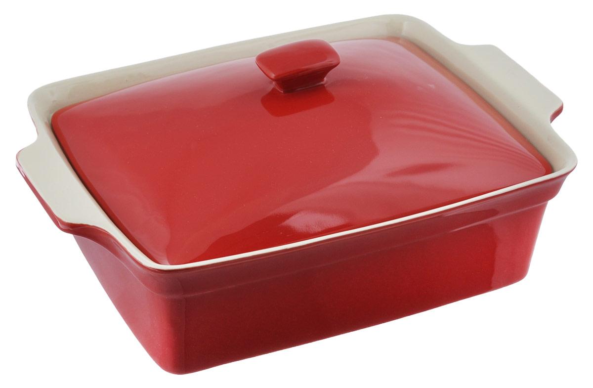 Блюдо для выпечки BergHOFF Geminis, с крышкой, цвет: красный, кремовый, 3,5 л eng