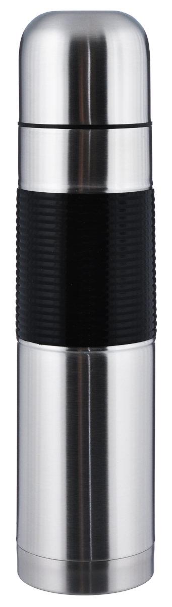 Термос BergHOFF Cook&Co, цвет: металлик,черный, 1 л2800706Термос с узким горлом BergHOFF Cook&Co, изготовленный из высококачественной нержавеющей стали, является простым в использовании, экономичным и многофункциональным. Термос с двойными стенками предназначен для хранения горячих и холодных напитков (чая, кофе) и укомплектован пробкой с кнопкой. Такая пробка удобна в использовании и позволяет, не отвинчивая ее, наливать напитки после простого нажатия. Изделие также оснащено крышкой-чашкой, а стенки имеют силиконовую вставку, которая препятсвует скольжению из рук и падению. Легкий и прочный термос BergHOFF Cook&Co сохранит ваши напитки горячими или холодными надолго. Объем: 1 л. Высота (с учетом крышки): 33 см. Диаметр горлышка: 5 см.