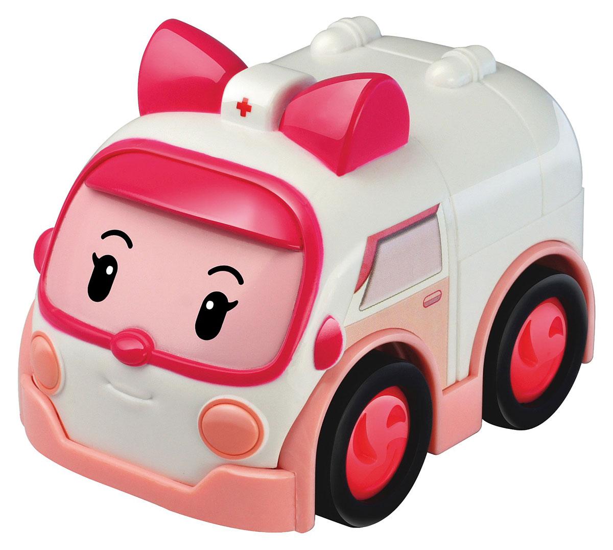 Robocar Poli Машинка инерционная Эмбер83182Яркая машинка Poli Эмбер непременно понравится вашему малышу. Она выполнена из прочного материала в виде Эмбер - персонажа популярного мультсериала Robocar Poli. Машинка оснащена инерционным механизмом. Стоит откатить игрушку назад, слегка надавив на крышу, затем отпустить - и Эмбер быстро поедет вперед. Благодаря небольшому размеру ребенок сможет машинку с собой на прогулку, в поездку или в гости. Порадуйте своего малыша таким замечательным подарком!