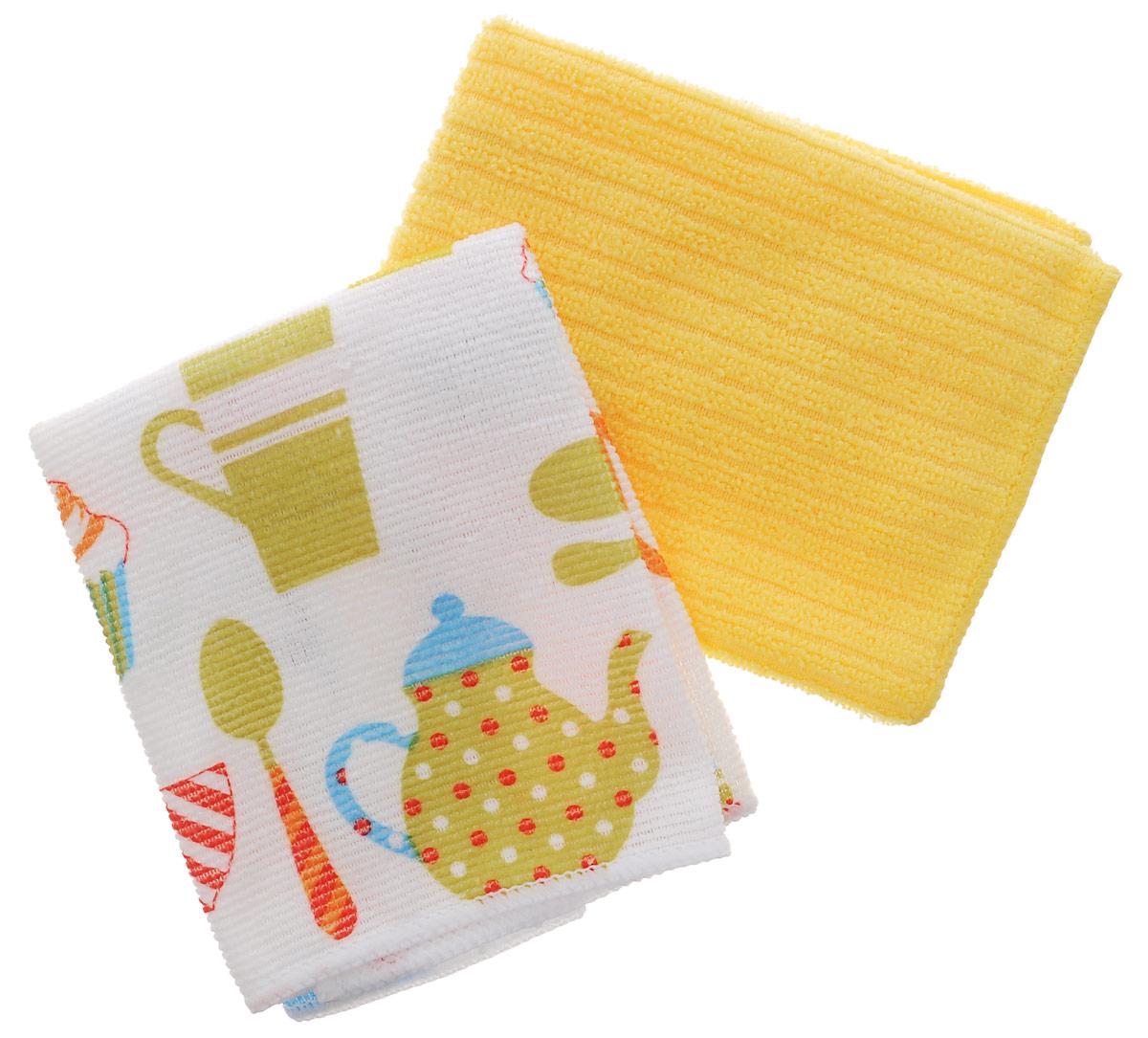Набор полотенец Bon Appetit Кекс, цвет: желтый, белый, 30 см х 30 см, 2 шт71575Набор полотенец Bon Appetit Кекс, изготовленный из 100% микрофибры, идеален для рук. Этот нанотехлогочный материал, отлично впитывает воду, сохраняет яркие краски и внешний вид после многочисленных стирок. Качество материала гарантирует безопасность не только взрослых, но и самых маленьких членов семьи. Изделие украшено оригинальным и ярким рисунком, оно впишется в интерьер любой кухни. Кухонные полотенца Bon Appetit идеально дополнят интерьер вашей кухни и создадут атмосферу уюта и комфорта. Размер полотенца: 30 см х 30 см. Комплектность: 2 шт.
