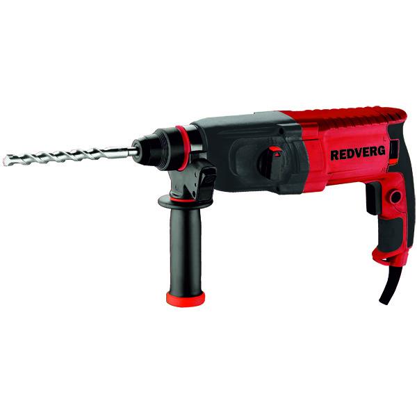 Перфоратор RD-RH650 RedVergRD-RH650Трехрежимный перфоратор предназначен для сверления с ударом/без удара в кирпиче, камне, бетоне диаметром до 23 мм, небольших объемов долбления при штроблении различных углублений в каменных и бетонных конструкциях. Преимущества перфоратора RD-RH650 RedVerg: 3 рабочих режима - сверление/сверление с ударом/долбление, позволяют подобрать оптимальные режимы для выполнения различных работ. Предохранительная муфта отключает вращение бура в перфораторе при его заклинивании. Поворотный механизм реверса обеспечивает полную мощность как при правом, так и при левом вращении. доп. рукоятка, коробка.