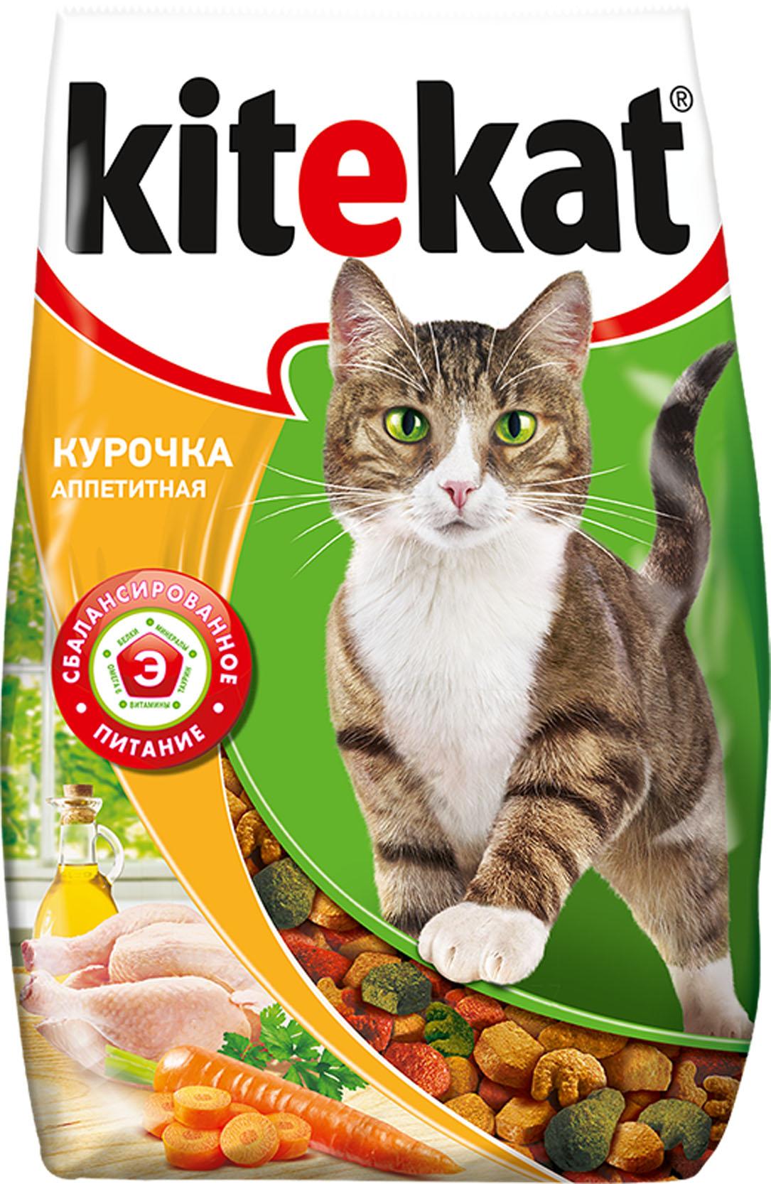 Корм сухой для взрослых кошек Kitekat, курочка аппетитная, 1,9 кг40431