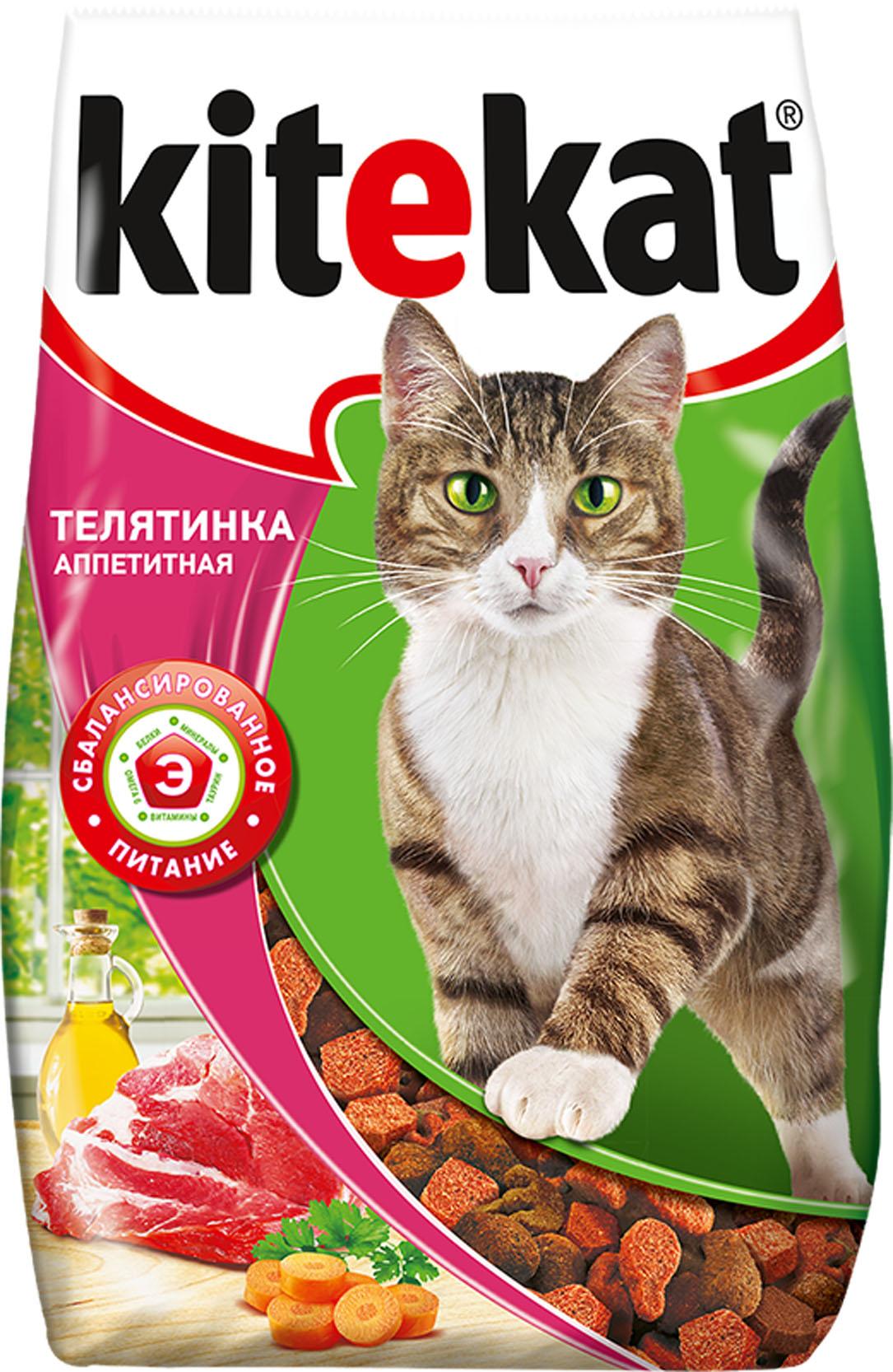 Корм сухой для взрослых кошек Kitekat, телятина аппетитная, 1,9 кг40434