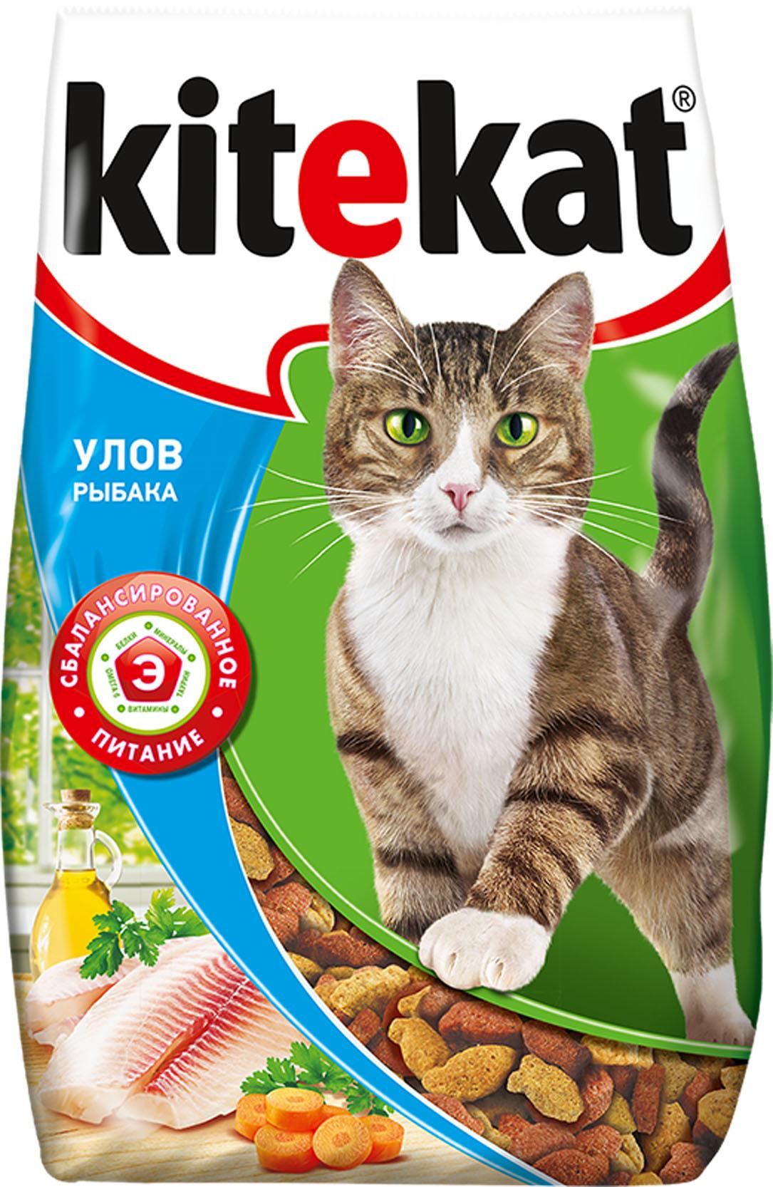 Корм сухой для взрослых кошек Kitekat, улов рыбака, 1,9 кг40435