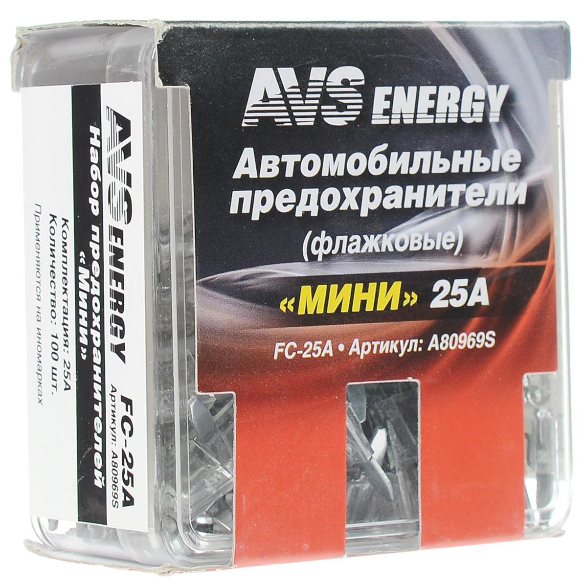 Набор автомобильных предохранителей AVS Мини, 25А, 100 штA80969SАвтомобильные флажковые предохранители AVS помогут защитить электрические цепи автомобиля от короткого замыкания и позволят без проблем заменить сгоревший предохранитель в автомобиле. Корпус предохранителя выполнен из прозрачного пластика, а элемент - из цинкового сплава. Набор автомобильных предохранителей Мини применяется на иномарках. Номинал: 25А. Тип: флажковые.