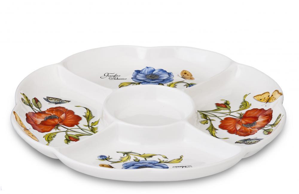 Блюдо 34.5 см 5-ти секционное Ботанический сад, штGRB-6016Посуду фабрики Nuova cer S.N.C отличают тёплые оттенки и верность истинно итальянскому стилю. Для итальянского стиля характерна довольно толстая, нарочито простая керамическая посуда с красочной, яркой глазурью, с наивной росписью и орнаментами. Ее цвет можно подобрать в колористической гамме, в которой выдержан весь интерьер кухни. Но можно выбрать и контрастные цвета, чтобы сделать акцентом именно кухонный стол. Такую посуду можно использовать в микроволновой печи и мыть в посудомоечной машине.