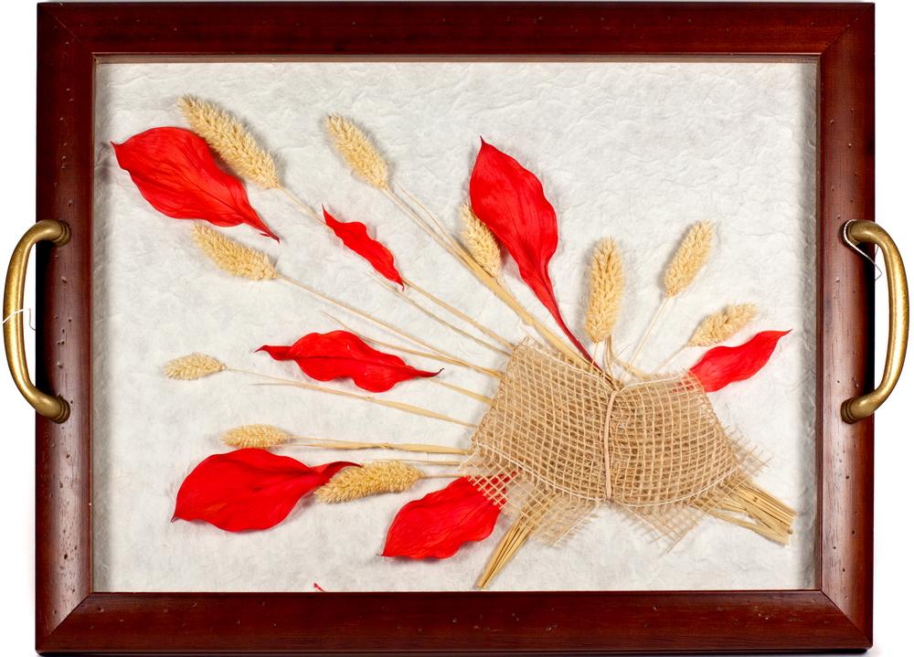 2 в 1: поднос с цветами, настенное урашение, рыжий лист, штКА475/N2 в 1: поднос с цветами, настенное урашение, рыжий лист, шт мультиколор