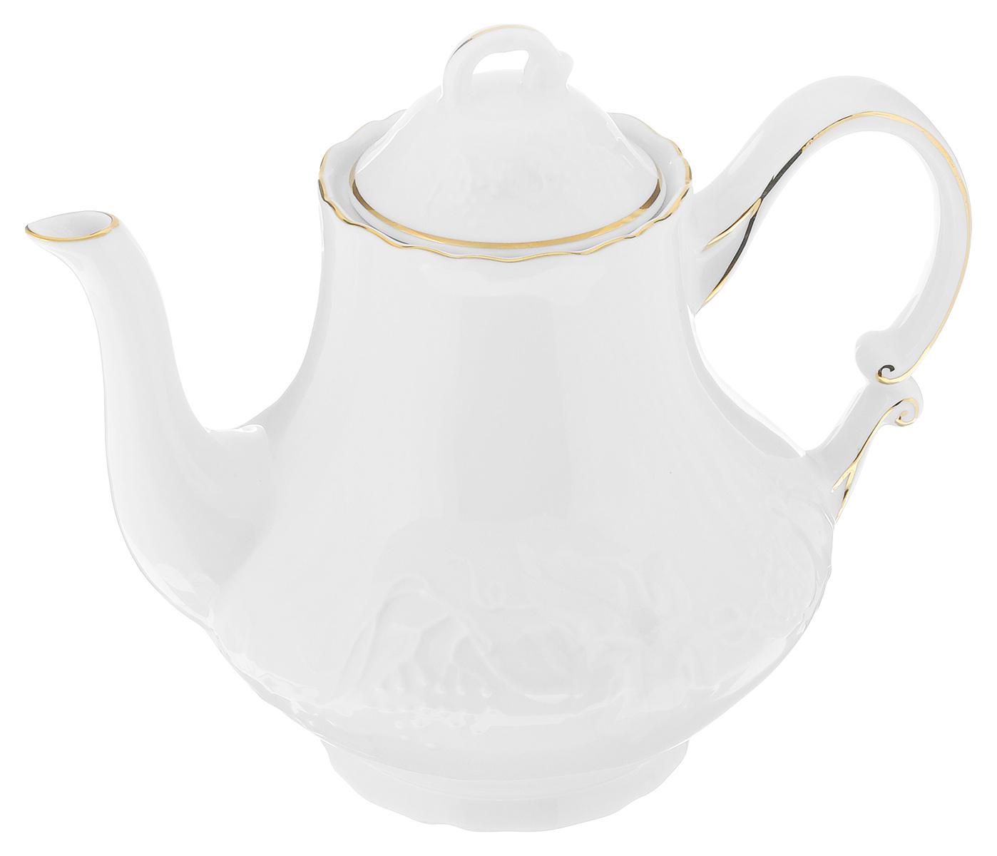 Чайник заварочный La Rose Des Sables Vendanges, цвет: белый, золотистый, 1 л6 931 101 009Чайник заварочный La Rose Des Sables Vendanges, изготовленный из высококачественного фарфора, предназначен для красивой подачи чая. Чайник оформлен рельефным изображением цветов. Прекрасный дизайн изделия идеально подойдет для сервировки стола. Диаметр по верхнему краю: 8 см. Высота (без учета крышки): 15,5 см.