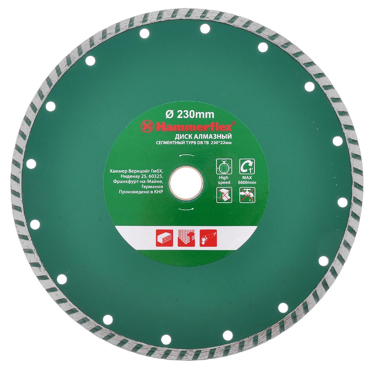 Диск алмазный Hammerflex Турбо, сегментный, 230 мм х 22 мм30699Диск алмазный Hammerflex Турбо изготовлен из высококачественной листовой стали, исключающей волнистость или кривизну дисков. Обеспечивает ровный рез, отсутствие биения и сколов. Высокая концентрация поликристаллических алмазов (более 40% к объему связки) обеспечивает своевременное вскрытие и поддержание режущей способности диска на неизменном высоком уровне. Износостойкая связка, используемая в алмазных дисках, оптимально удерживает режущие кристаллы и эффективно отводит тепло. Максимальные обороты: 6600 оборотов/мин.