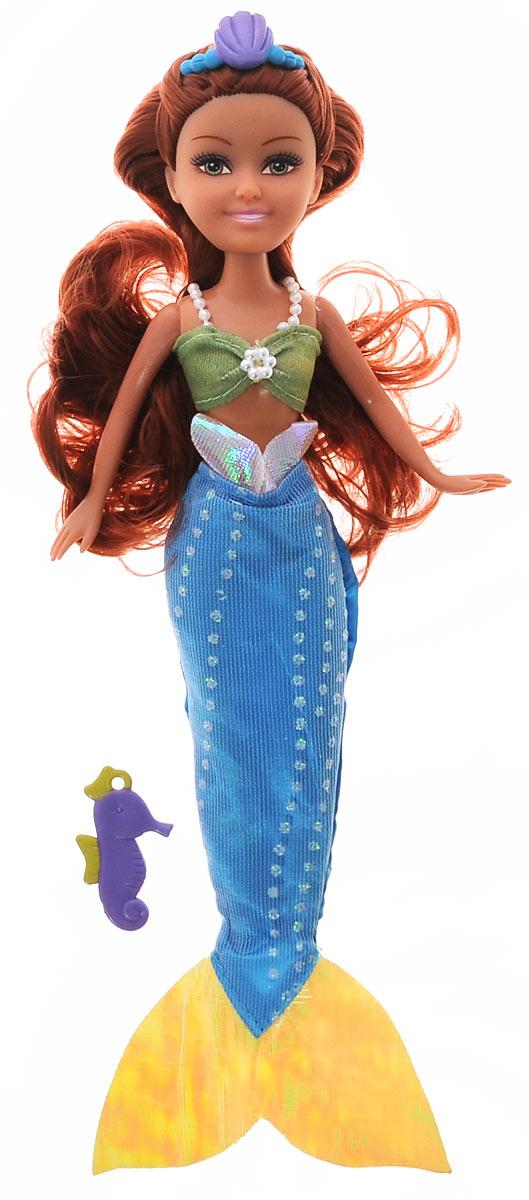 ABtoys Кукла Brilliance Fair Русалочка цвет платья голубой зеленый2400062_брюнетка, голубой, зеленый нарядВеликолепная кукла Русалочка обязательно порадует вашу малышку и доставит ей много удовольствия от часов, посвященных игре с ней. Куколка с длинными темными волосами и зелеными глазами одета в великолепный наряд: зеленую маечку с бисером и голубую юбку в пол, имитирующую хвост русалки. Вместе с куклой в наборе предлагается оригинальная диадема с ракушкой. А для маленькой хозяйки имеется подвеска в виде морского конька. Ее можно носить с цепочкой, браслетом, или как подскажет фантазия вашей малышки. Кукла-русалка станет настоящей подружкой для своей юной обладательницы! Порадуйте свою малышку таким великолепным подарком!