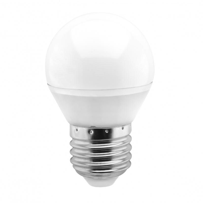 Лампа светодиодная Smartbuy, G45, теплый свет, цоколь Е27, 5 ВтSBL-G45-05-30K-E27Светодиодная лампа Smartbuy G45 - энергосберегающая лампа общего или декоративного освещения, подходит для замены ламп накаливания и галогенных. Благодаря своей экономичности, длительному сроку службы и экологичности светодиодные лампы выгодно отличаются от своих предшественников. Колба лампы выполнена в форме шара. Поверхность колбы матовая. Лампа G45 повторяет форму и размеры стандартных ламп типа шар и идеально подходит к любому светильнику, в котором используются данные типы ламп. В светодиодных лампах серии G45 применяются высокоэффективные светодиоды, обеспечивающие эффективность до 80 лм/Вт. При этом коэффициент цветопередачи ламп обеспечивается на уровне Ra>80. Особенности: - Хорошая цветопередача. - Отсутствие мерцания обеспечивает меньшую утомляемость глаз. - Высокоэффективный драйвер обеспечивает стабильную работу. - Устойчивость к механическому воздействию. - Большой срок службы - 30 000 часов работы. - Широкий...
