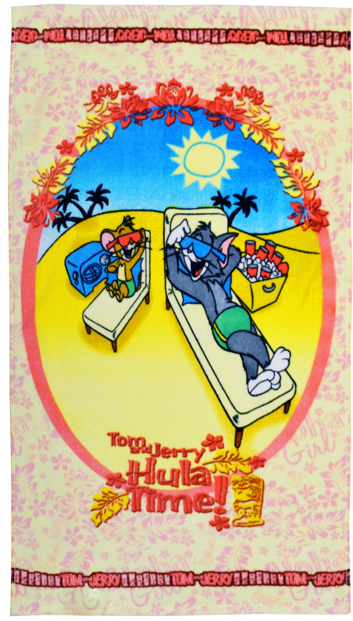 Полотенце 50*90 см, махровое, Том и Джерри на отдыхе01300215954Красочные полотенца 2 в 1: одна сторона развлекает, другая — вытирает. Разнообразие расцветок полотенец поможет окунуться в мир волшебных сказок и мультипликационных героев.