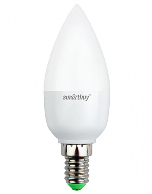 Лампа светодиодная Smartbuy, C37, теплый свет, цоколь Е14, 5 ВтSBL-C37-05-30K-E14Светодиодная лампа Smartbuy C37 - энергосберегающая лампа общего или декоративного освещения, подходит для замены стандартных ламп накаливания и галогенных. Благодаря своей экономичности, длительному сроку службы и экологичности светодиодные лампы выгодно отличаются от своих предшественников. Колба лампы выполнена в форме свечи. Поверхность колбы матовая. Лампа С37 повторяет форму и размеры стандартных ламп типа свеча и идеально подходит к любому светильнику, в котором используются данные типы ламп. В светодиодных лампах серии C37 применяются высокоэффективные светодиоды, обеспечивающие эффективность до 80 лм/Вт. При этом коэффициент цветопередачи ламп обеспечивается на уровне Ra>80. Особенности: - Хорошая цветопередача. - Отсутствие мерцания обеспечивает меньшую утомляемость глаз. - Высокоэффективный драйвер обеспечивает стабильную работу. - Устойчивость к механическому воздействию. - Большой срок службы - 30 000 часов работы. ...