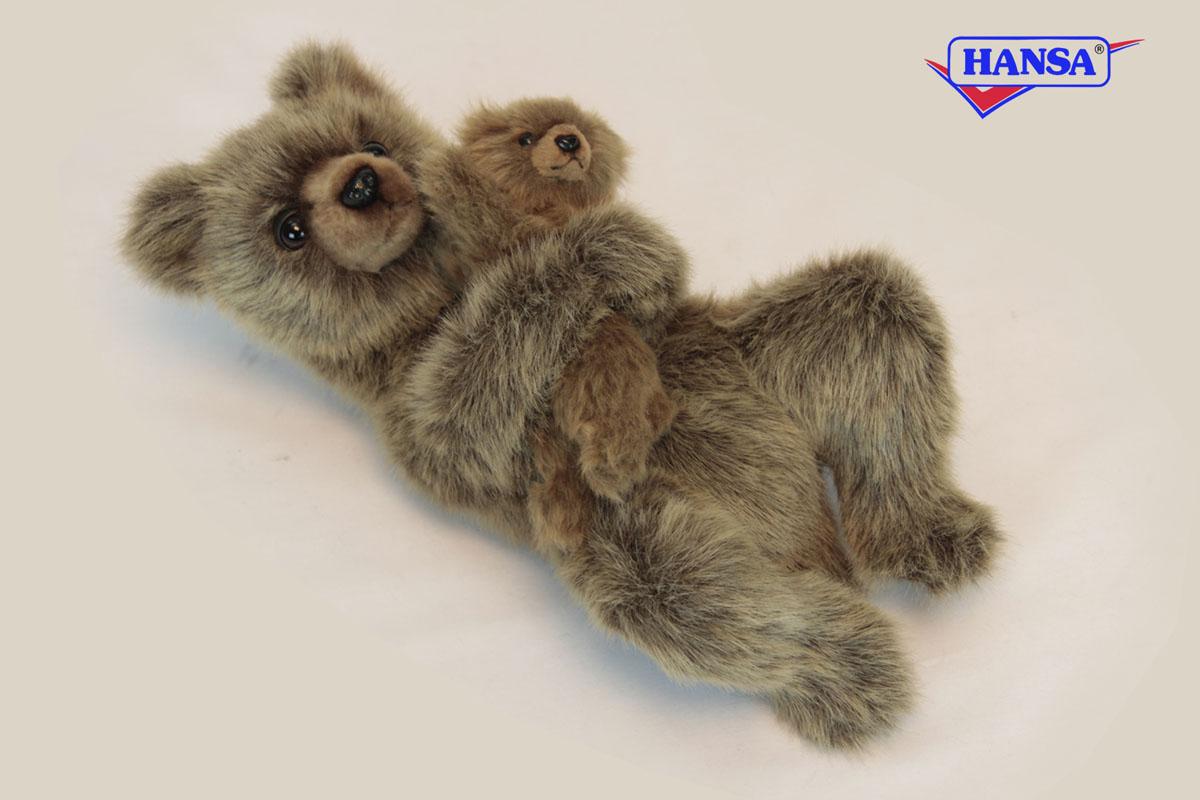 HANSA Мягкая игрушка Медведица с медвежонком, 33см6555