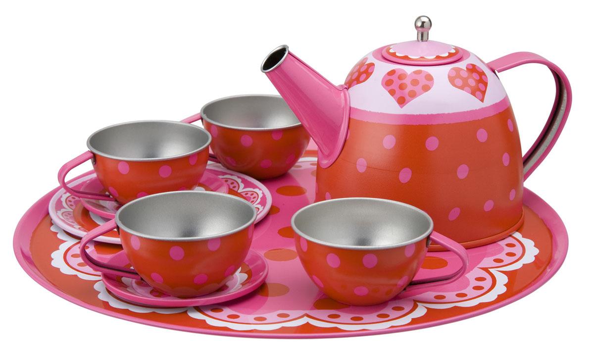 Alex Toys Чайный набор Сердце 16 предметов704HОчаровательный чайный сервиз Alex Toys Сердце из 15 предметов на 4 персоны. Все предметы, входящие в набор, декорированы рисунком с сердечками и горошком в любимых девочками розовых оттенках. Сервиз упакован в красивую коробку.