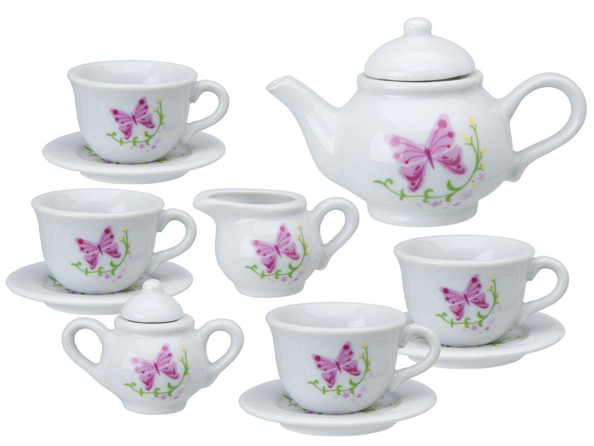 ALEX Чайный сервиз Бабочки в саду, керамика, 13 предм709BRЧайный сервиз из 13 предметов. Сделан из высококачественного фарфора. Классический стильный дизайн, и очаровательный декор. 4 чашки, 4 блюдца, чайник с крышкой, сахарница с крышкой и кувшинчик для сливок. Размер 25 х 21 х 5 см.
