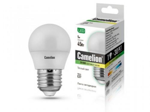 Лампа светодиодная Camelion, теплый свет, цоколь E27, 5W5-G45/830/E27Энергосберегающая лампа Camelion - это инновационное решение, разработанное на основе новейших светодиодных технологий (LED), для эффективной замены любых видов галогенных или обыкновенных ламп накаливания во всех типах осветительных приборов. Служит в 30 раз дольше обычных ламп, экономит 1200 кВт/ч. Она хорошо подойдет для создания рабочей атмосферы в производственных и общественных зданиях, спортивных и торговых залах, в офисах и учреждениях. Лампа не содержит ртути и других вредных веществ, экологически безопасна и не требует утилизации, не выделяет при работе ультрафиолетовое и инфракрасное излучение. Обладает высокой вибро- и ударопрочностью в связи с отсутствием нити накаливания и стеклянных трубок. Обеспечивает мгновенное включение без мерцания. Тип колбы: G45. Напряжение: 220-240В / 50 Гц. Индекс цветопередачи (Ra): 77+. Угол светового пучка: 220°. Использовать при температуре: от -30° до +40°.