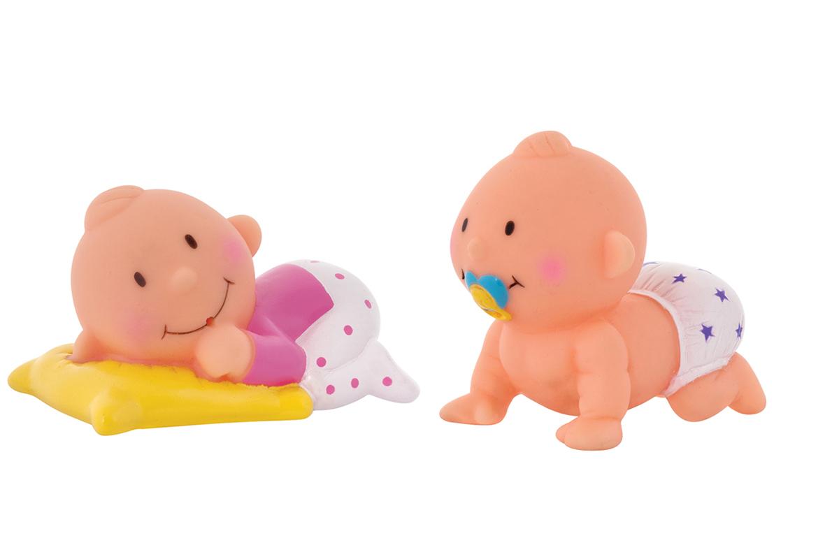 Курносики Набор игрушек-брызгалок для ванны Баю-Бай25130Набор игрушек-брызгалок для ванны Курносики Баю-Бай непременно понравится вашему ребенку и превратит купание в веселую игру! Яркие игрушки выполнены из прочного безопасного ПВХ в виде двух забавных пупсов. Игрушки способствуют развитию воображения, цветового восприятия, тактильных ощущений и мелкой моторики рук.