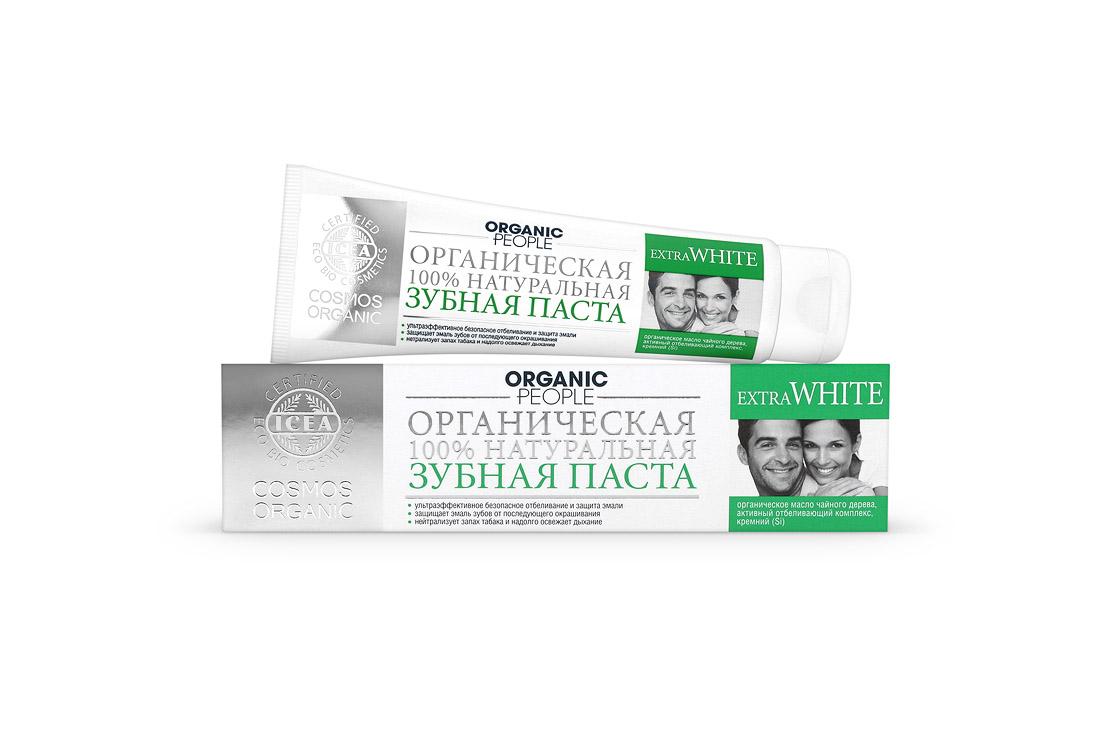 Organic People паста зубная Extra White, 100 мл073-2384Сертифицированная органическая зубная паста ORGANIC PEOPLE «EXTRA WHITE» .Безопасное отбеливание. Эффективно удаляет налет, вызванный красящими напитками и курением, защищает эмаль зубов от последующего окрашивания, нейтрализует запах табака, надолго освежает дыхание.Не содержит:SLS,SLES,Парабенов,Хлоргексидина,Антибиотиков,Искусственных красителей. Содержит: 35,43% - органических ингредиентов 99,33% - натуральных ингредиентов Описание: Эффективно удаляет налет и пятна, вызванные красящими напитками и курением, предотвращает последующее окрашивание зубной эмали, нейтрализует неприятный запах, уничтожает бактерии и повышает защитные свойства слизистой полости рта. Органическое масло чайного дерева – мощный природный антисептик, обладает противовоспалительным, бактерицидным и ранозаживляющим действием; Активный отбеливающий комплекс (на основе оксида кремния и папаина) эффективно удаляет налет и пятна с зубной эмали, образует невидимую пленку, защищающую зубы от последующего...