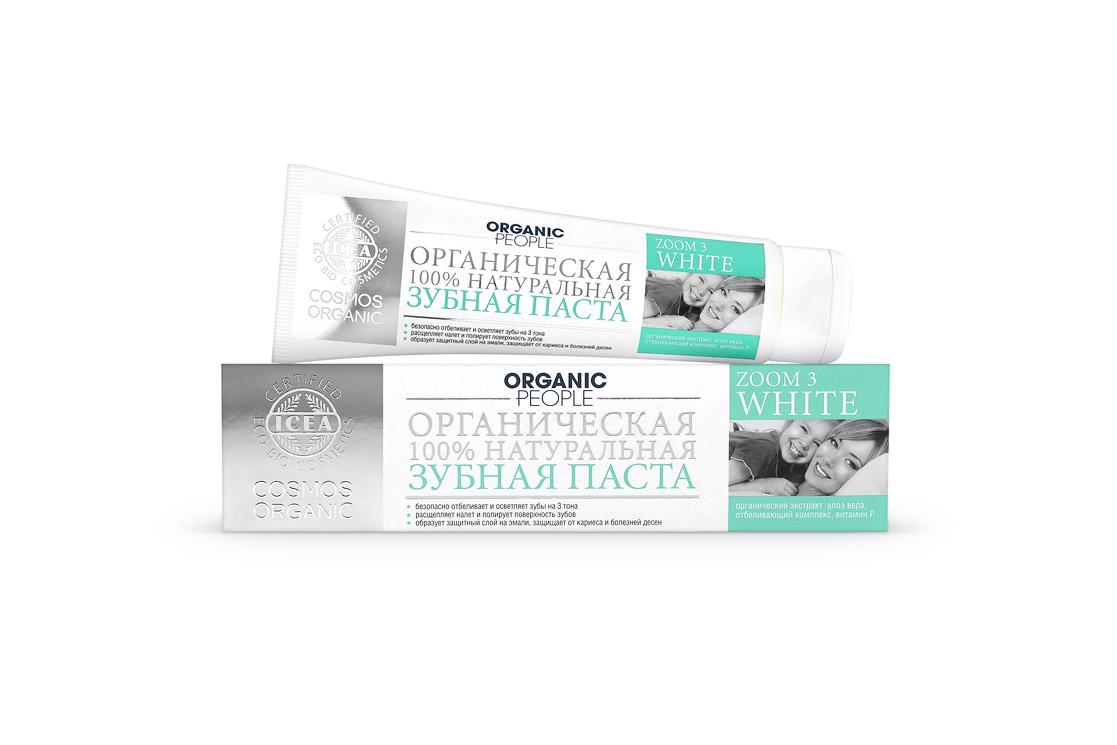 Organic People паста зубная Zoom 3 White, 100 мл073-2391Сертифицированная органическая зубная паста ORGANIC PEOPLE «ZOOM 3 WHITE». Безопасное отбеливание.Интенсивно отбеливает зубы и расщепляет налет, полирует поверхность зубов, образует защитный слой на эмали, защищает от кариеса и болезней десен.Преимущества:Не содержит: SLS,SLES,Парабенов,Хлоргексидина,Антибиотиков,Искусственных красителей. Содержит: 10,64% - органических ингредиентов 99,33% - натуральных ингредиентов Описание: Специальная формула при ежедневном применении (утро, вечер) позволяет профессионально и безопасно отбелить зубы до 3 тонов в домашних условиях. Активный отбеливающий комплекс (на основе оксида кремния и папаина) растворяет зубной налет, удаляет темные пятна, предупреждает образование зубного камня; Органический экстракт алое вера обладает антибактериальным и ранозаживляющим действием. Защищает десны от воспаления; Витамин Р способствует восстановлению тканей полости рта, уменьшает кровоточивость десен. Не содержит:SLS,...