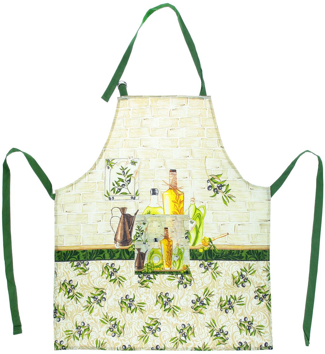 Фартук Bon Appetit Olive, 68 см х 75 см57548Фартук Bon Appetit Olive, изготовленный из натурального 100% хлопка, оснащен карманом и регулируемым шейным ремешком, который поможет подогнать фартук по вашему росту. Удлиненный пояс можно завязать сзади или обернуть вокруг талии. Такой фартук поднимет настроение, позволит почувствовать себя нарядной и женственной при выполнении домашних дел.