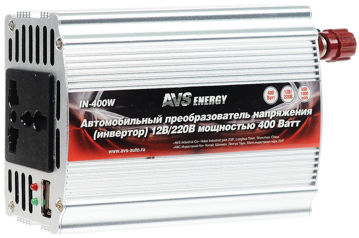 Автомобильный инвертор 12/220V AVS IN-400WA80684SВыходная частота 50-60Гц Номинальная мощность :400Вт Допустимая пиковая мощность :800Вт Размеры: 12,2 х 8,9 x 4,7 см