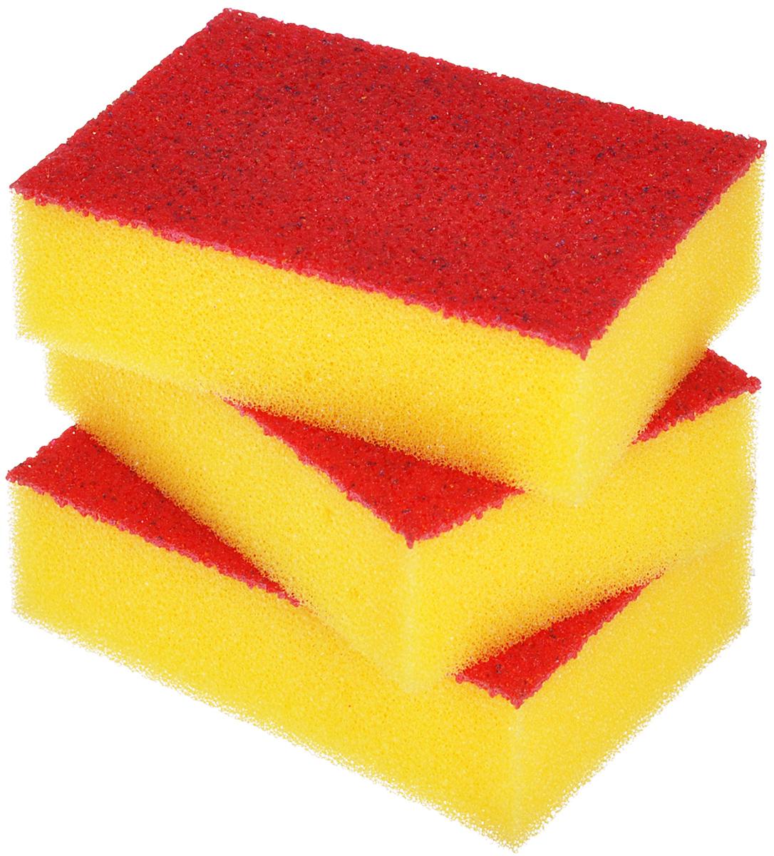 Набор губок Хозяюшка Мила Люкс для мытья посуды, цвет: желтый, 3 шт01011Поролоновые губки Хозяюшка Мила Люкс отличаются от большинства губок тем, что вместо абразивного чистящего слоя используется слой с эластомерной активной поверхностью (эластомер имеет полиуретановую основу). В отличие от абразивной фибры эластомер не наклеивается, а накатывается на поролон, поэтому срок службы такой губки во много раз дольше, чем обычной губки. Размер губки: 10 см х 7 см х 3 см.